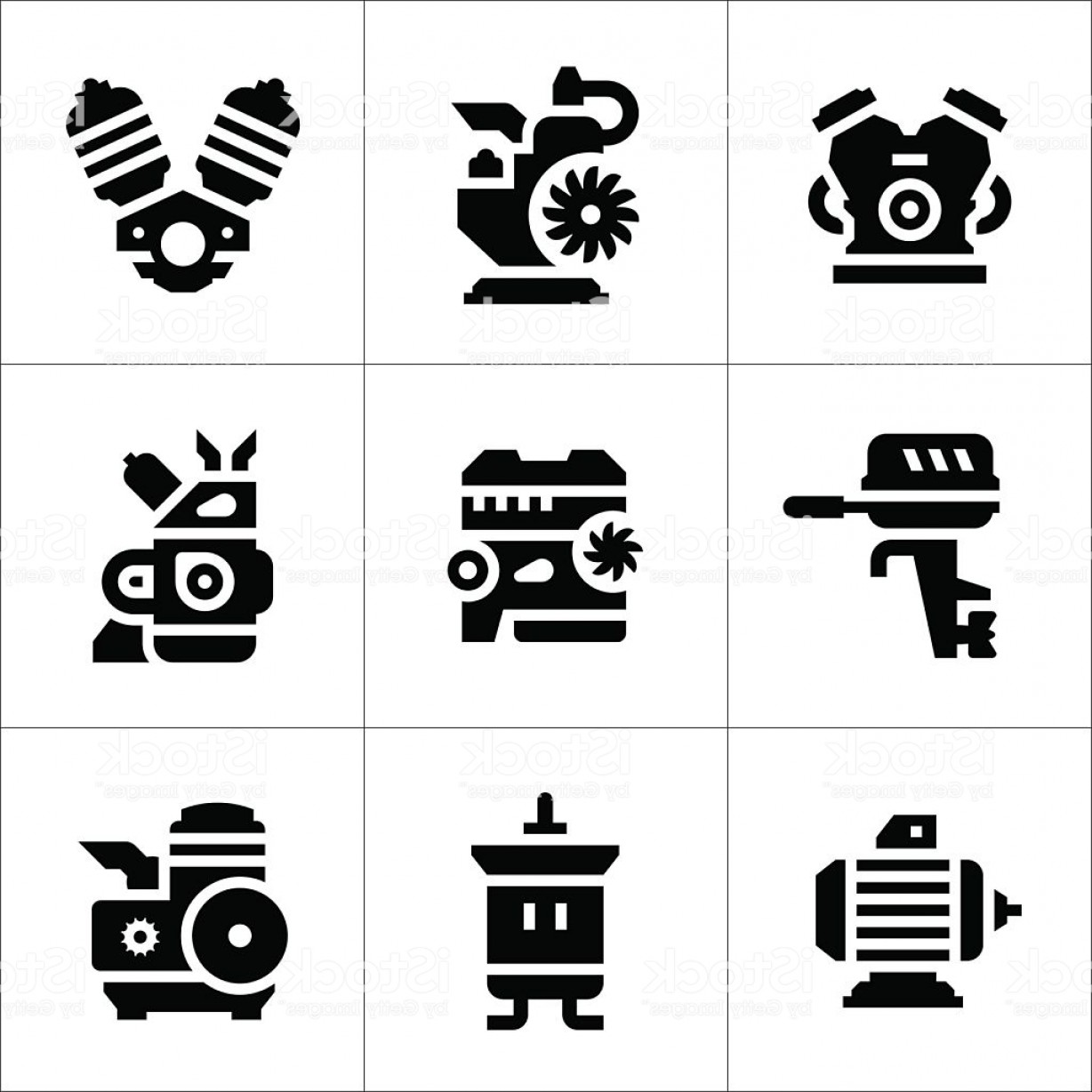Motor Vector Graphics: Set Icons Of Motor And Engine Gm
