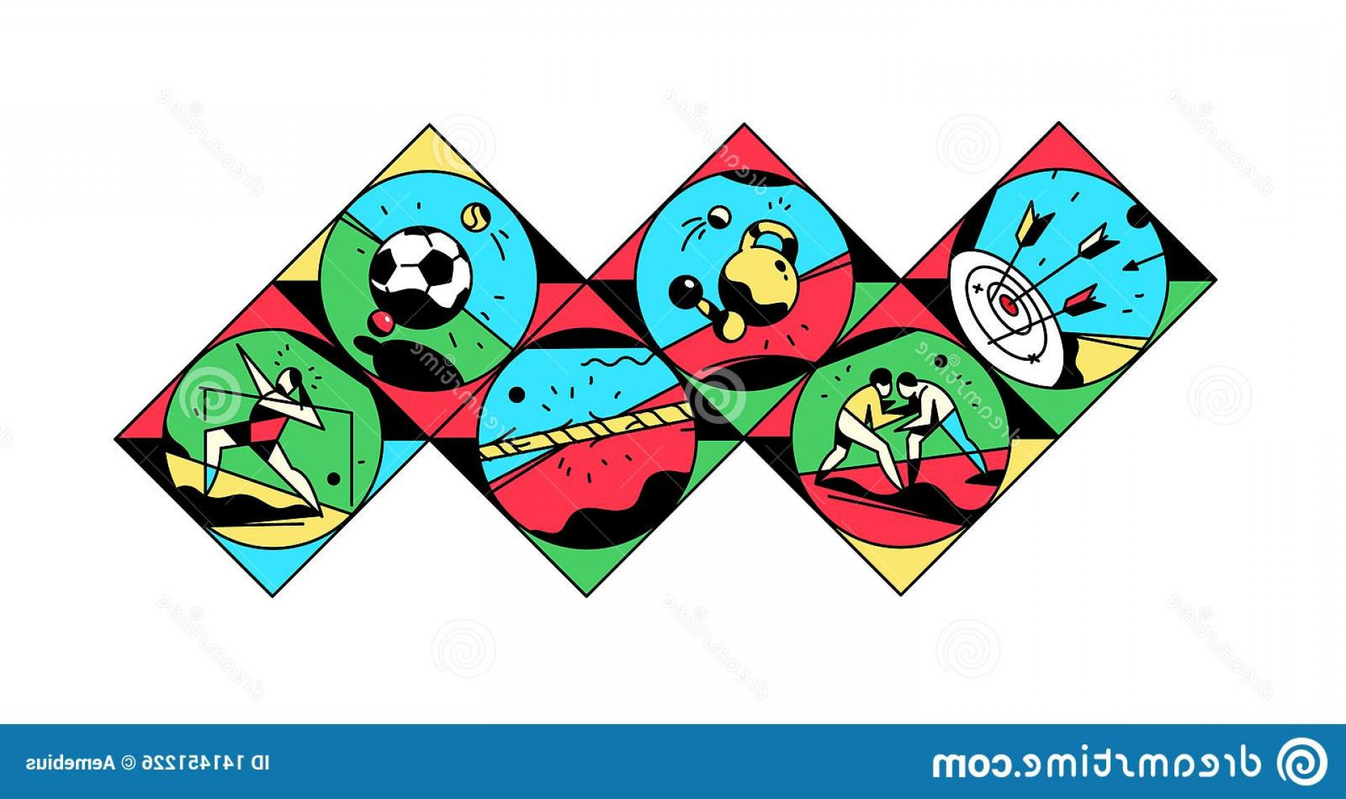 Sport Vector Art Games: Set Icons Theme Sports Vector Illustration Vintage Style Retro Sport Games Square Site Banner Brand Stickers Image