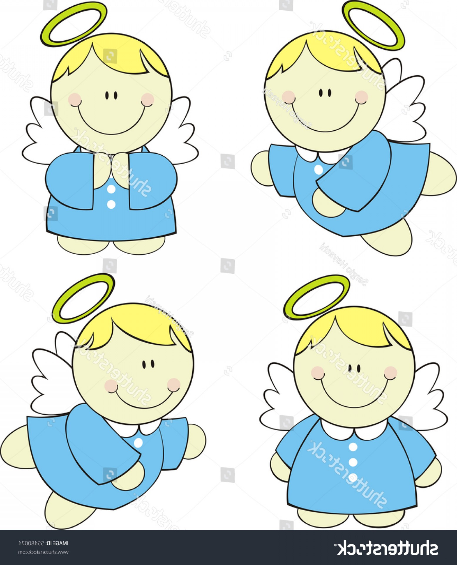 Little Angel Vector: Set Isolated Cute Little Angels Vector
