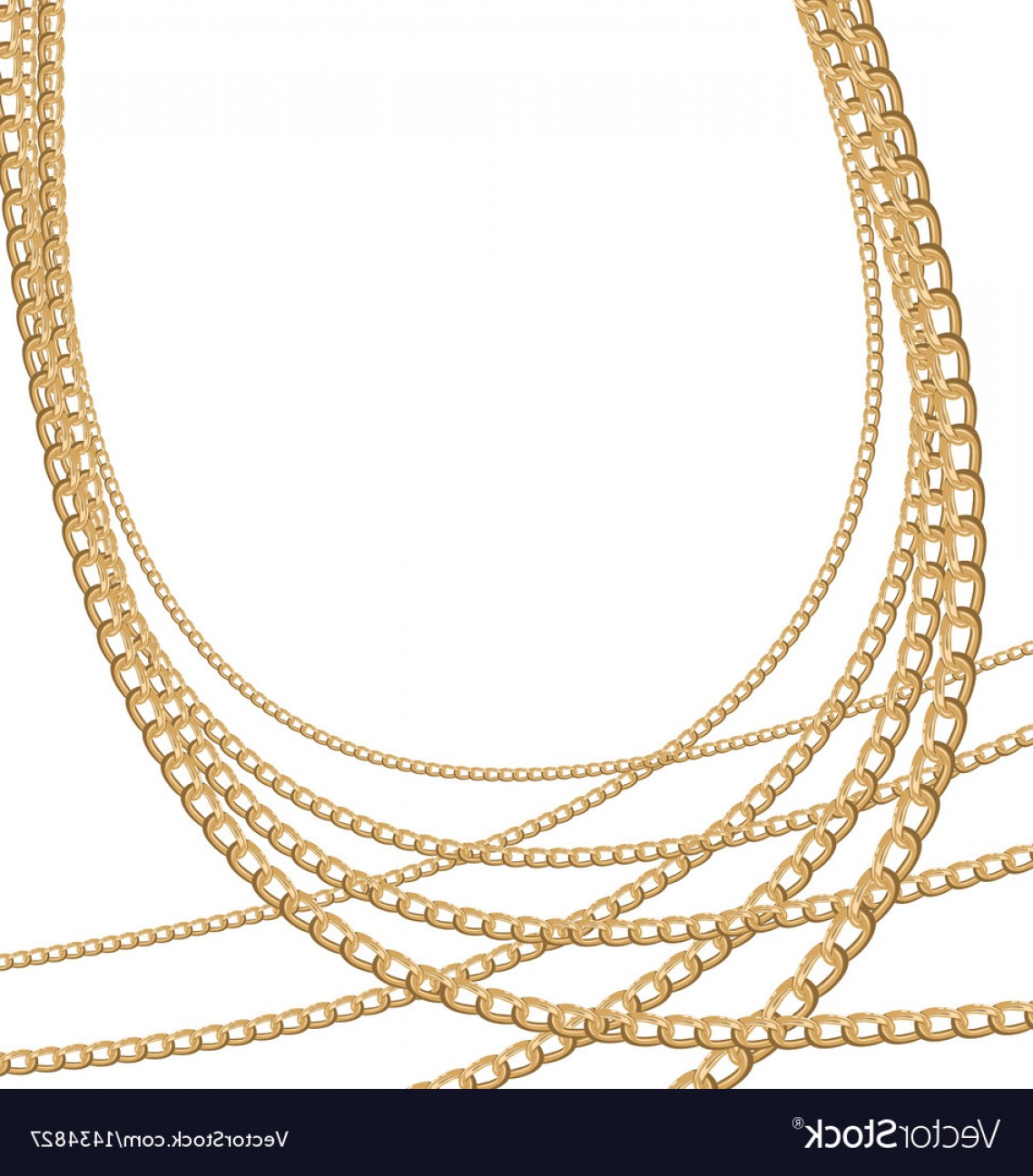 Necklace Vector Chain Grapicts: Set Jewelry Gold Chains Different Size Vector