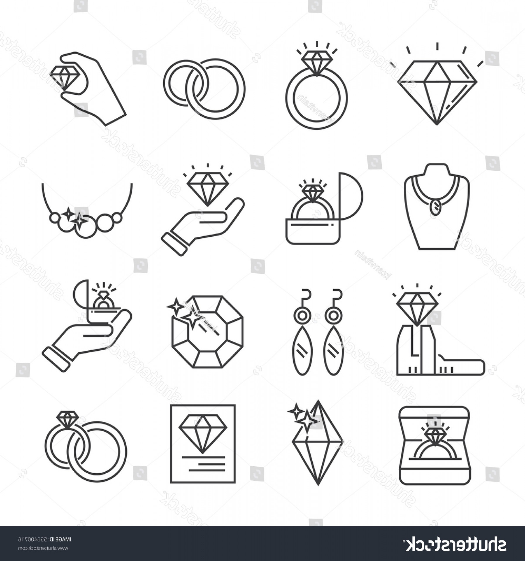 Jewelry Vector Line Art: Set Jewelry Related Vector Line Icons