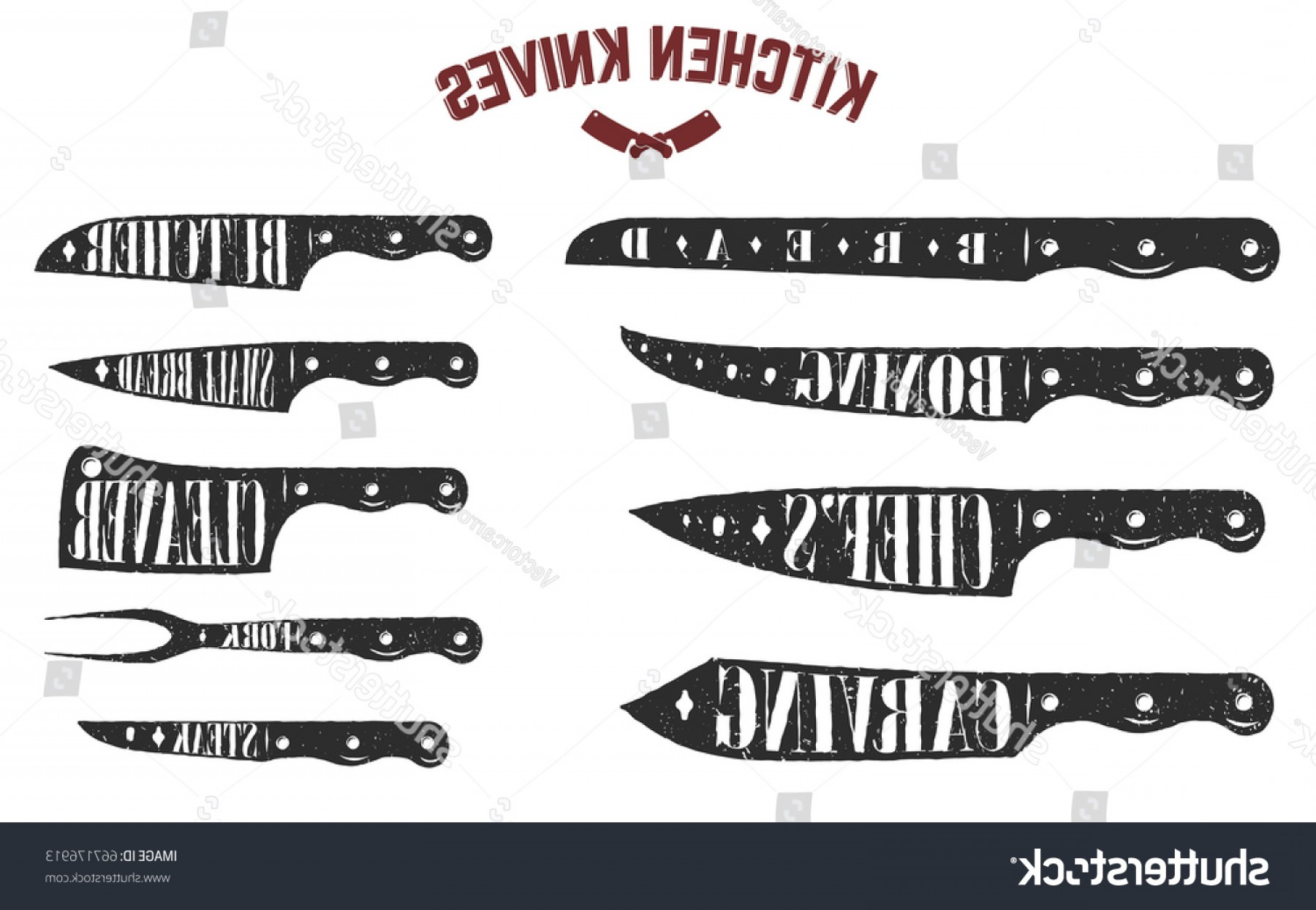 Butcher Knife Vector: Set Kitchen Knives Butcher On White