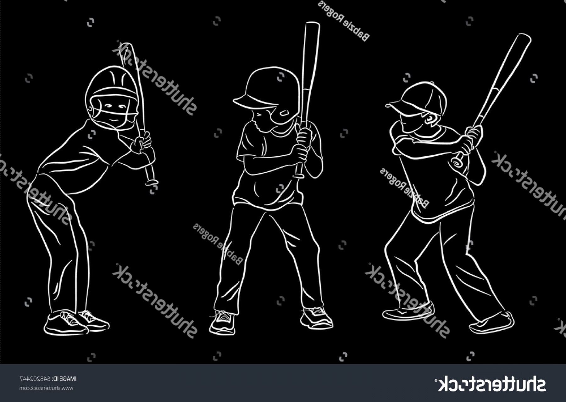 Little League Baseball Vector Logo No Text: Set Little League Baseball Batting Line