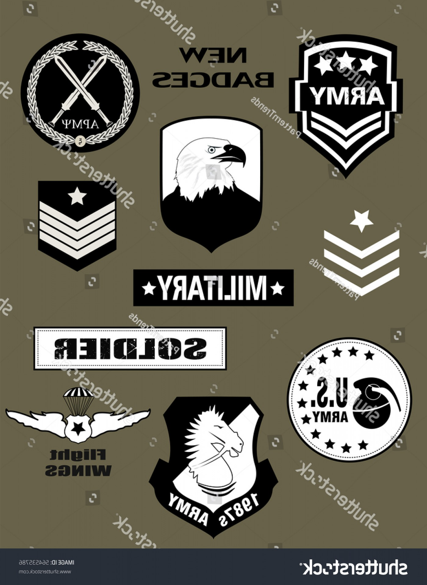 Military T-Shirt Designs Vectors: Set Military Army Badge Patches Typography