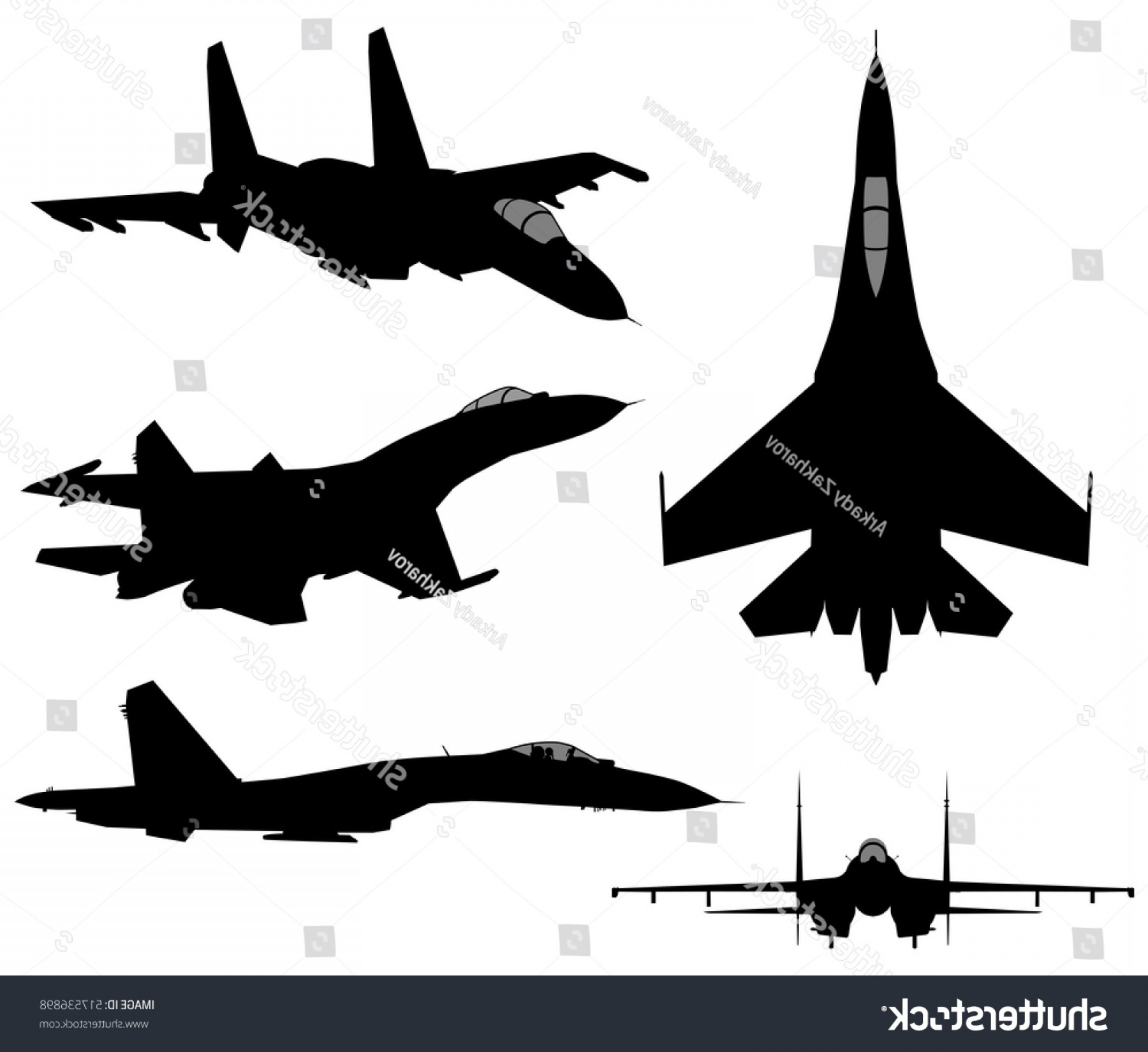 Vector Jet Fighter: Set Military Jet Fighter Silhouettes