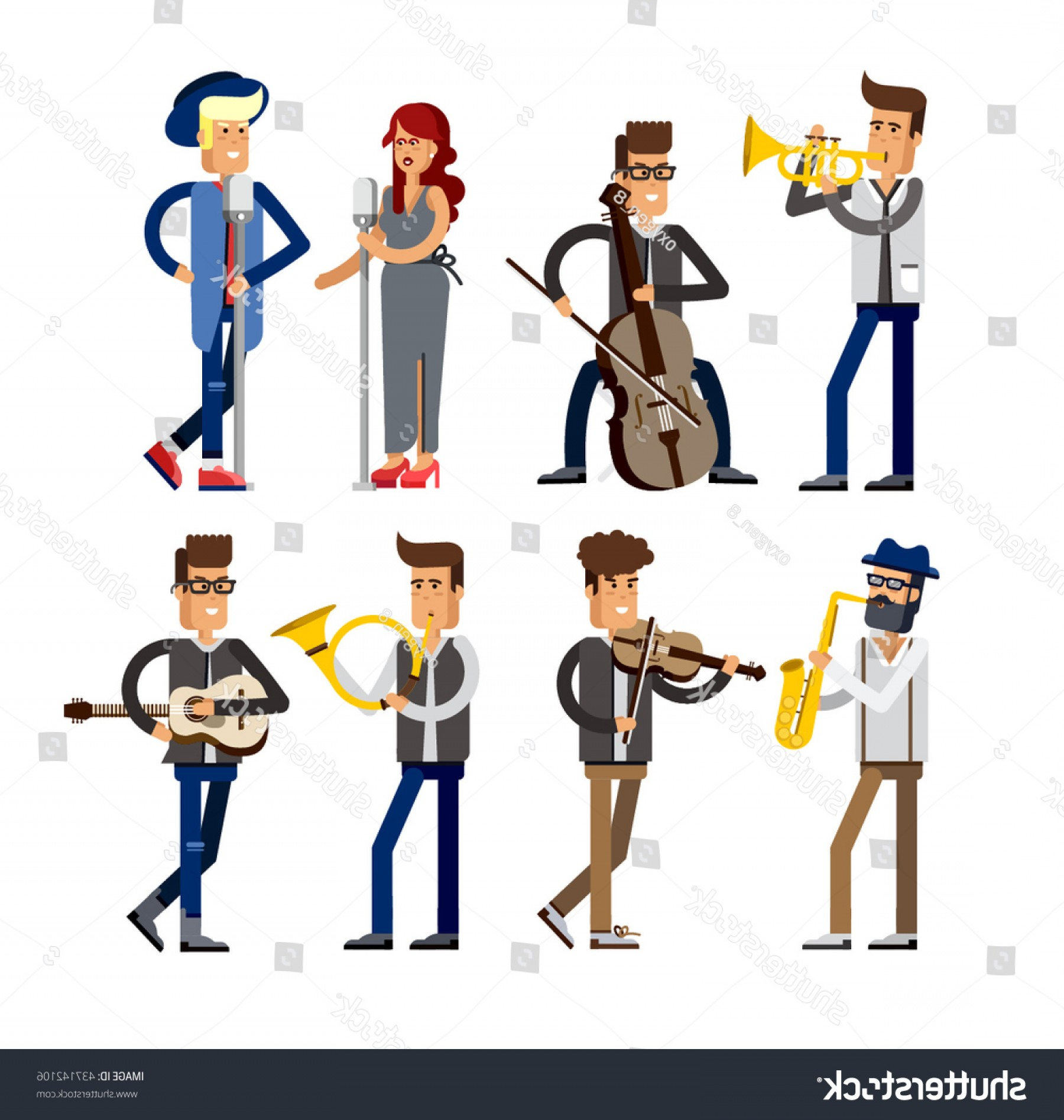 Musician Person Vector: Set Musicians People Flat Vector Illustration