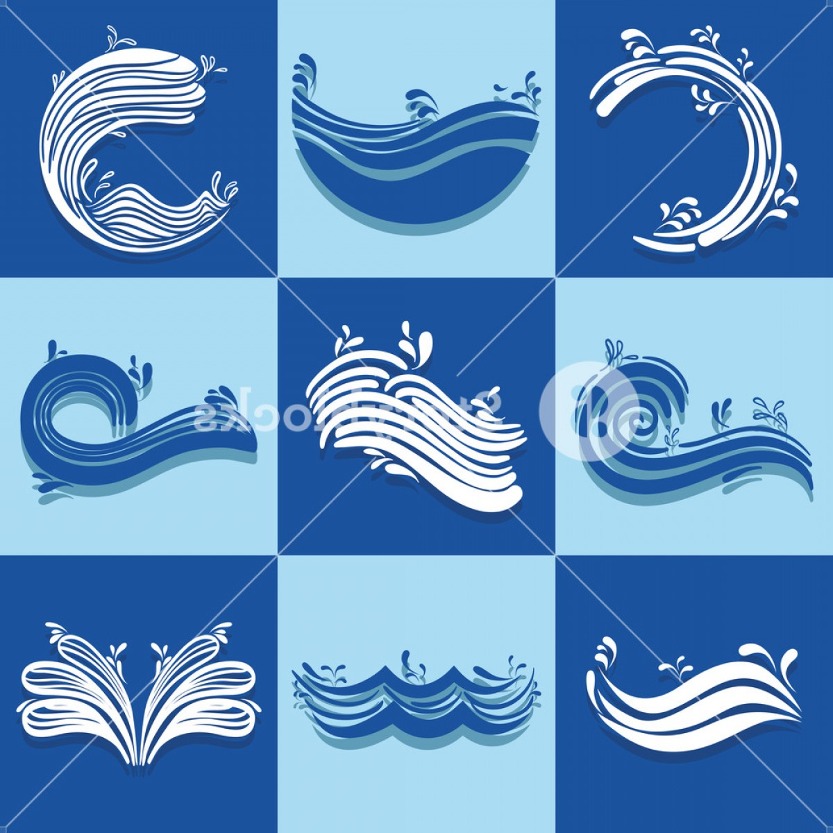 Awesome Ocean Wave Vector: Set Ocean Waves With Differes Shapes Design Vector Illustration Bnmkvosqfjbtsyyn
