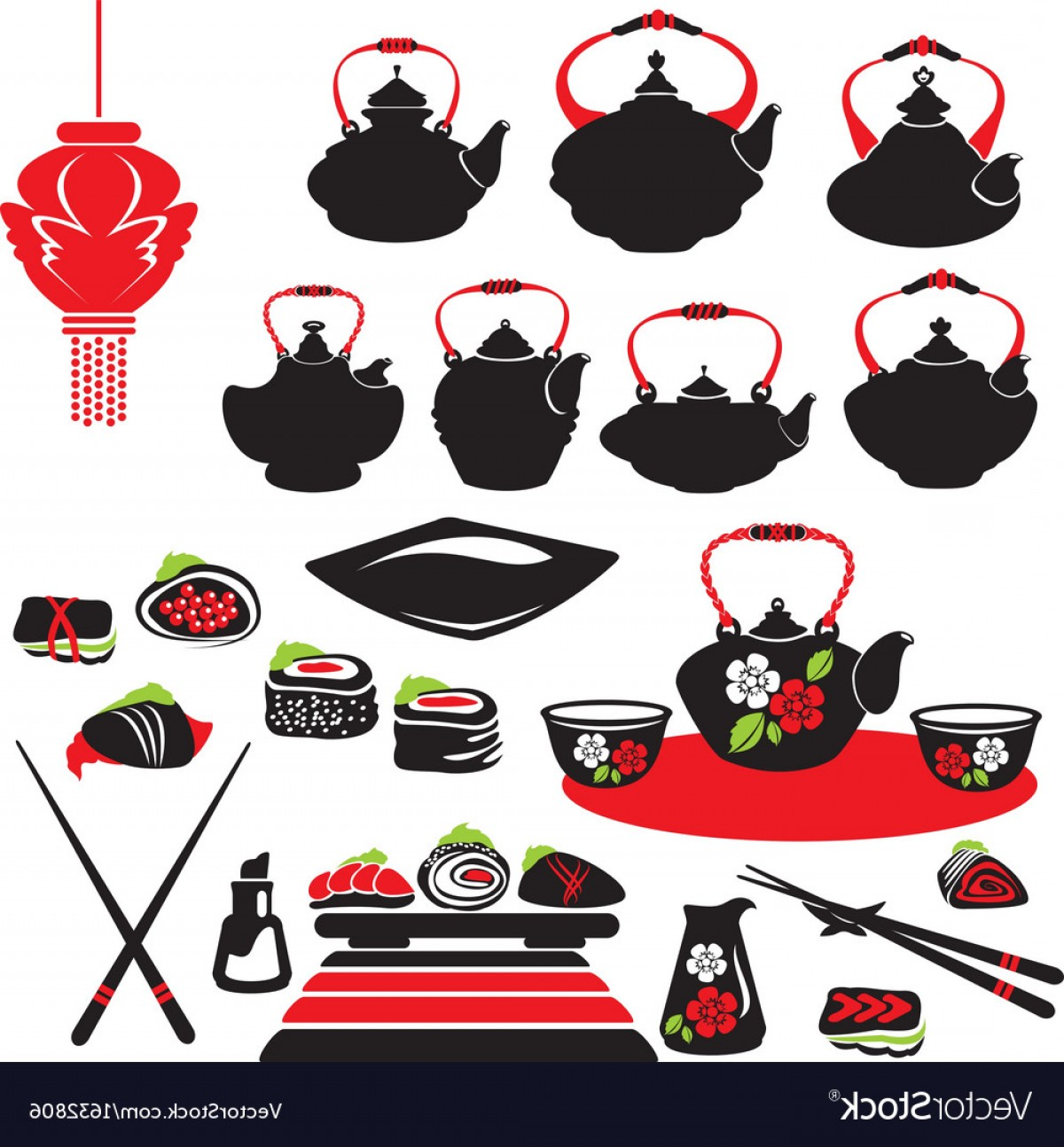 Sushi Vector Art: Set Of Asian Food Icons Teapot Sushi Vector
