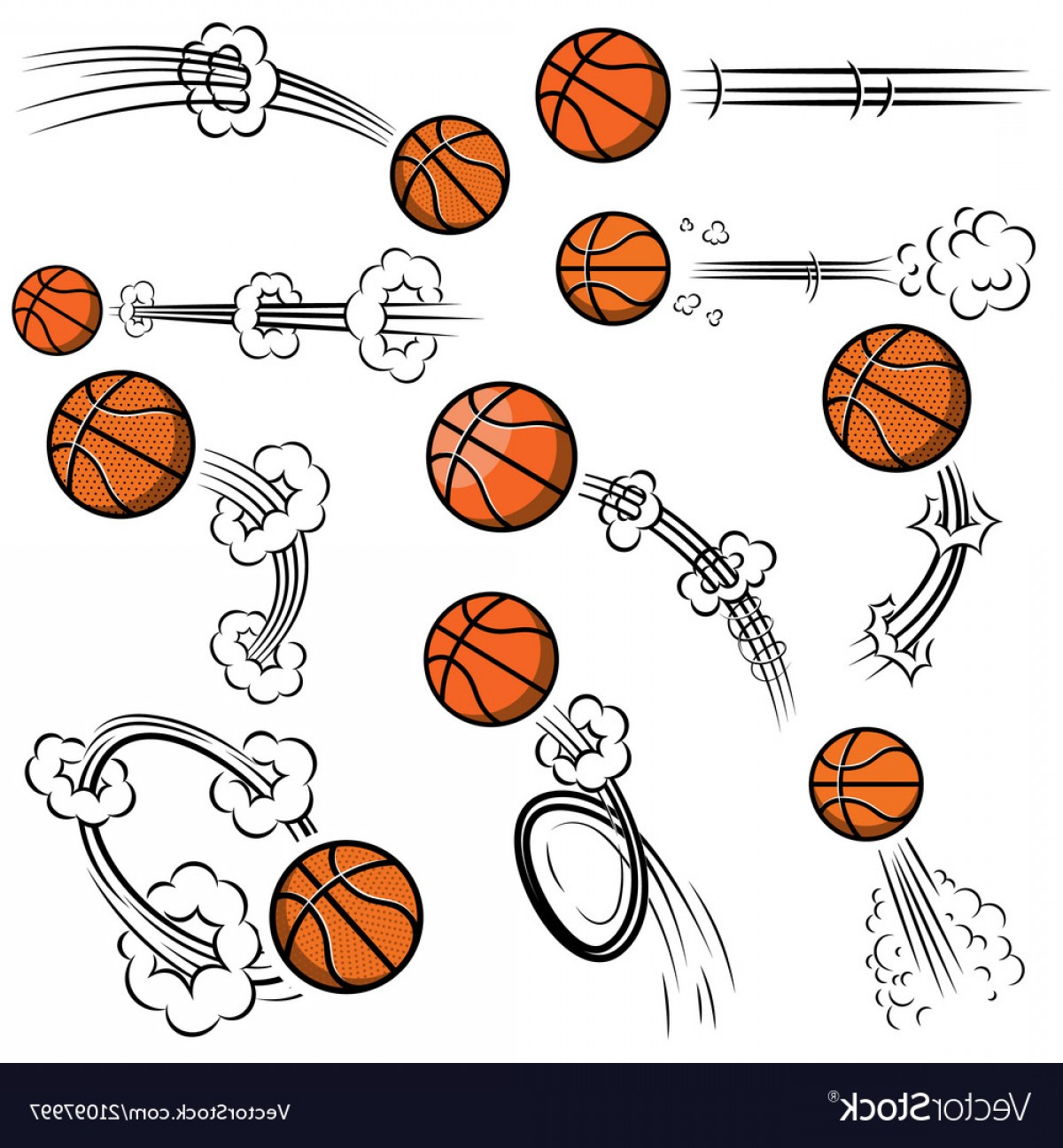 Motion Basketball Vector: Set Of Basketball Balls With Motion Trails In Vector