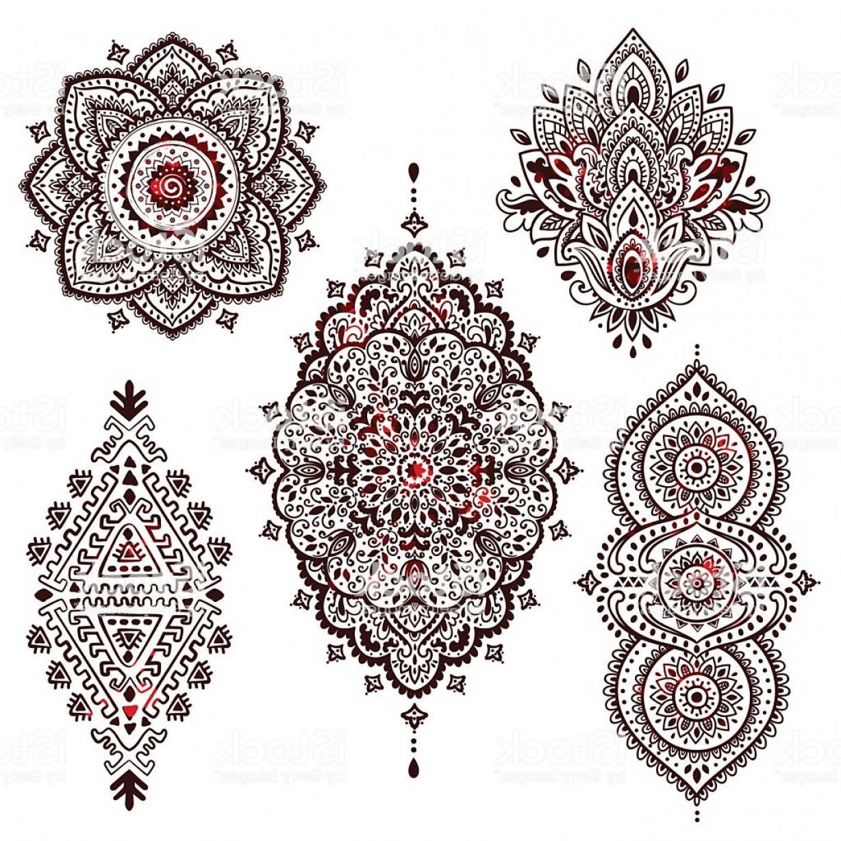 Vector Art Henna: Set Of Beautiful Indian Ethnic Ornaments Folk Henna Tattoo Styl Gm