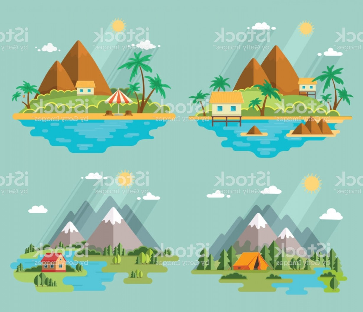 Picnic Vector Scenery: Set Of Beautiful Tropical And Mountain Scenery Of Nature For Relaxation Vector Flat Gm