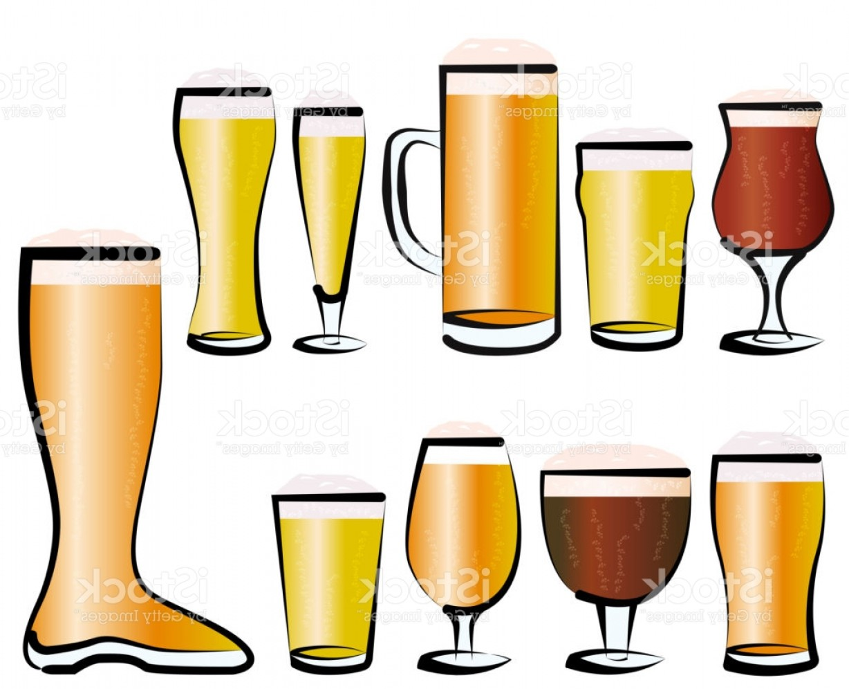 Beer Chalice Vector Logo: Set Of Beer Glasses Gm