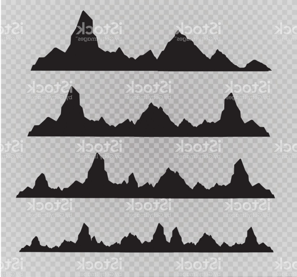 White Mountain Silhouette Vector Free: Set Of Black And White Mountain Silhouettes Background Border Of Rocky Mountains Gm