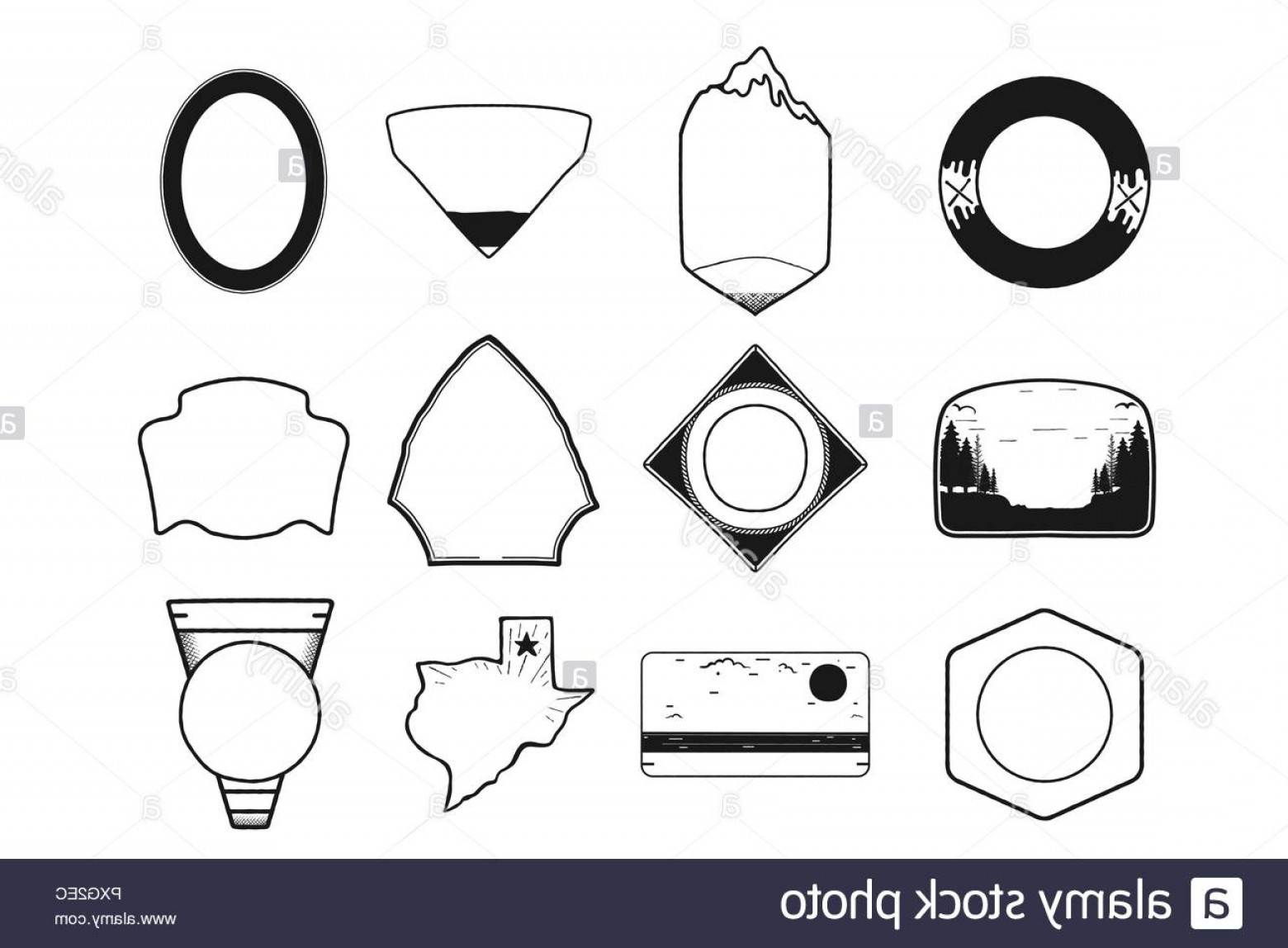 Texas Clip Art Vector: Set Of Black Camping Badge Shapes Included Texas State Icon Line Art Design Stock Vector Objects Isolated On White Background Image