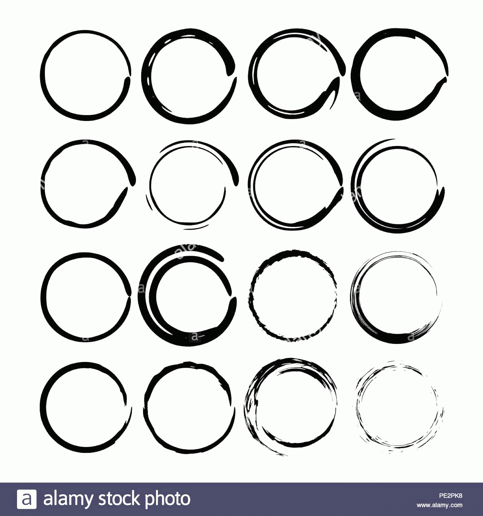 Distressed Border Circle Vector: Set Of Black Circle Grunge Frames Creative Ink Round Borders Vector Illustration Image