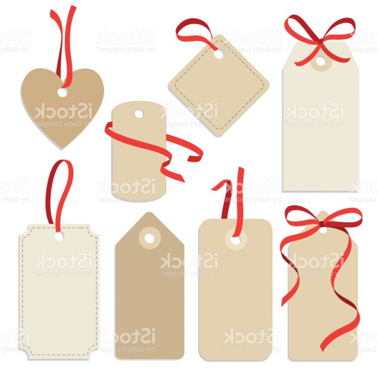 Gift Tags Vector Art: Set Of Blank Vintage Frames Gift Tags Labels With Ribbons Gm