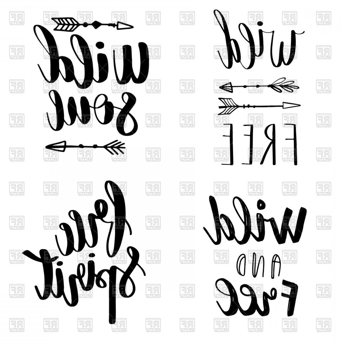 Vector Quotes: Set Of Boho Style Lettering Quotes Vector Clipart