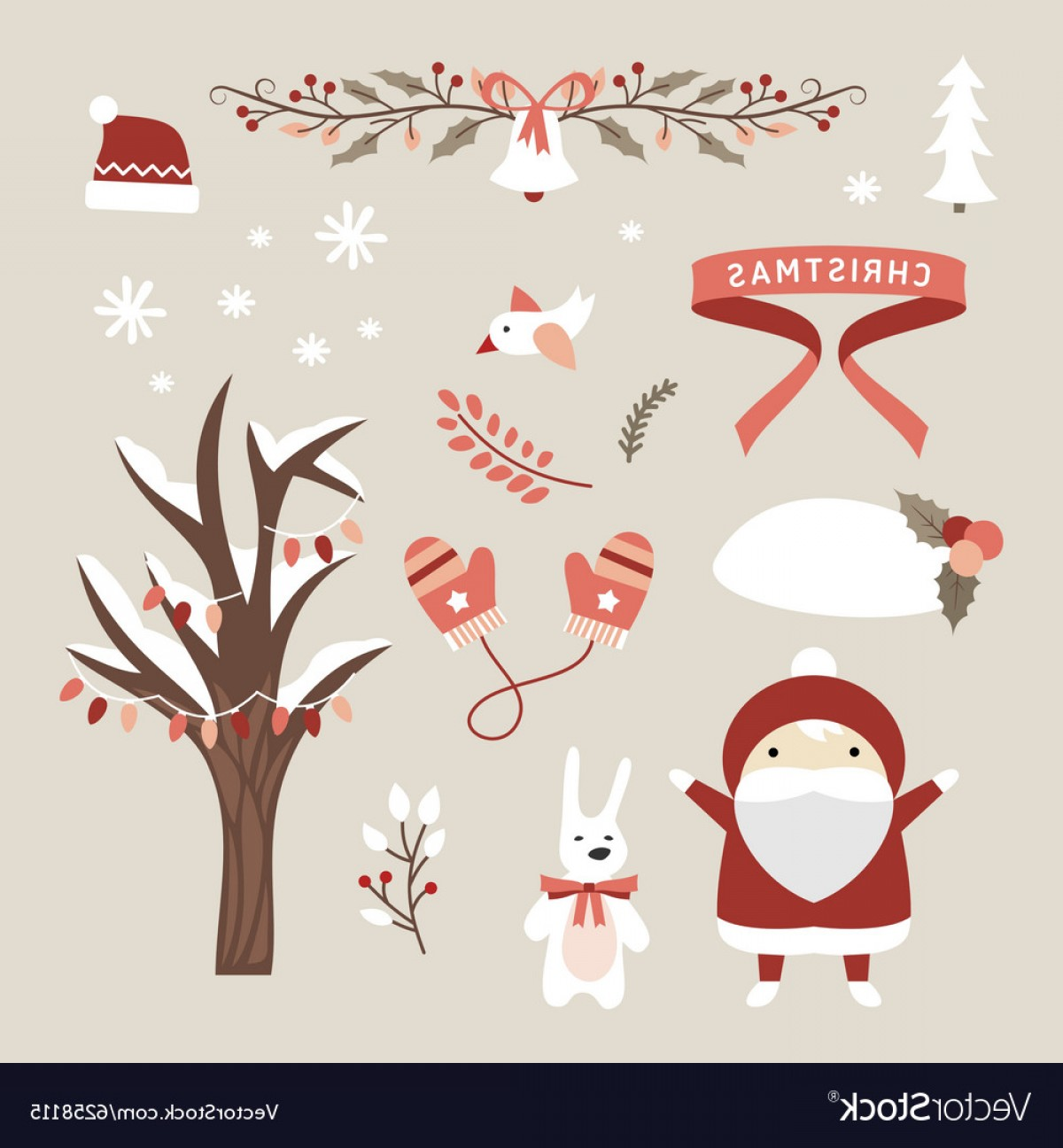 Cute Design Elements Vector Set: Set Of Christmas And New Year Cute Design Elements Vector