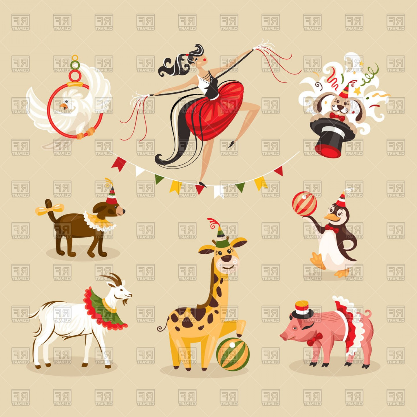 Circus Animals Vector Graphic: Set Of Circus Animals And Acrobat Vector Clipart