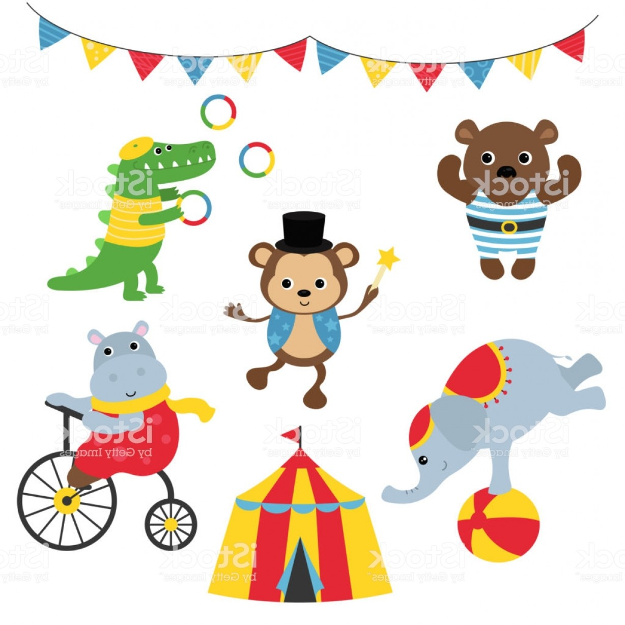 Circus Animals Vector Graphic: Set Of Circus Animals Gm