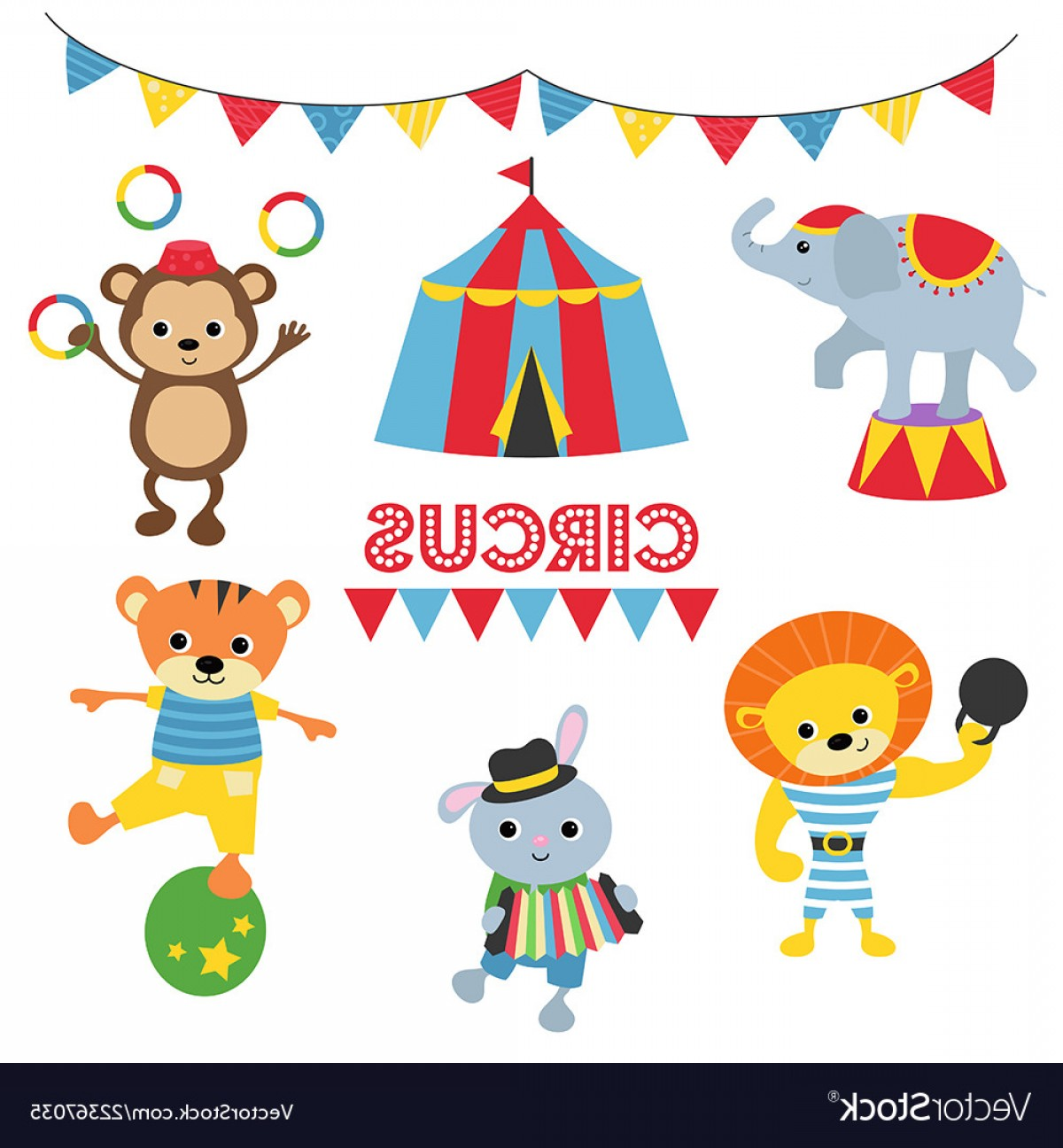 Circus Animals Vector Graphic: Set Of Circus Animals Set Of Circus Animals Vector
