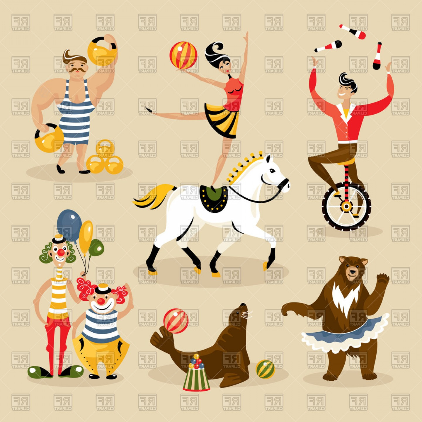 Circus Animals Vector Graphic: Set Of Circus Characters And Animals Vector Clipart