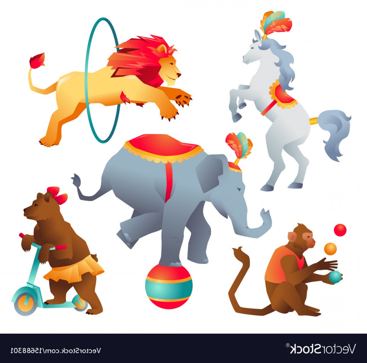 Circus Animals Vector Graphic: Set Of Circus Trained Wild Animals Performance Vector