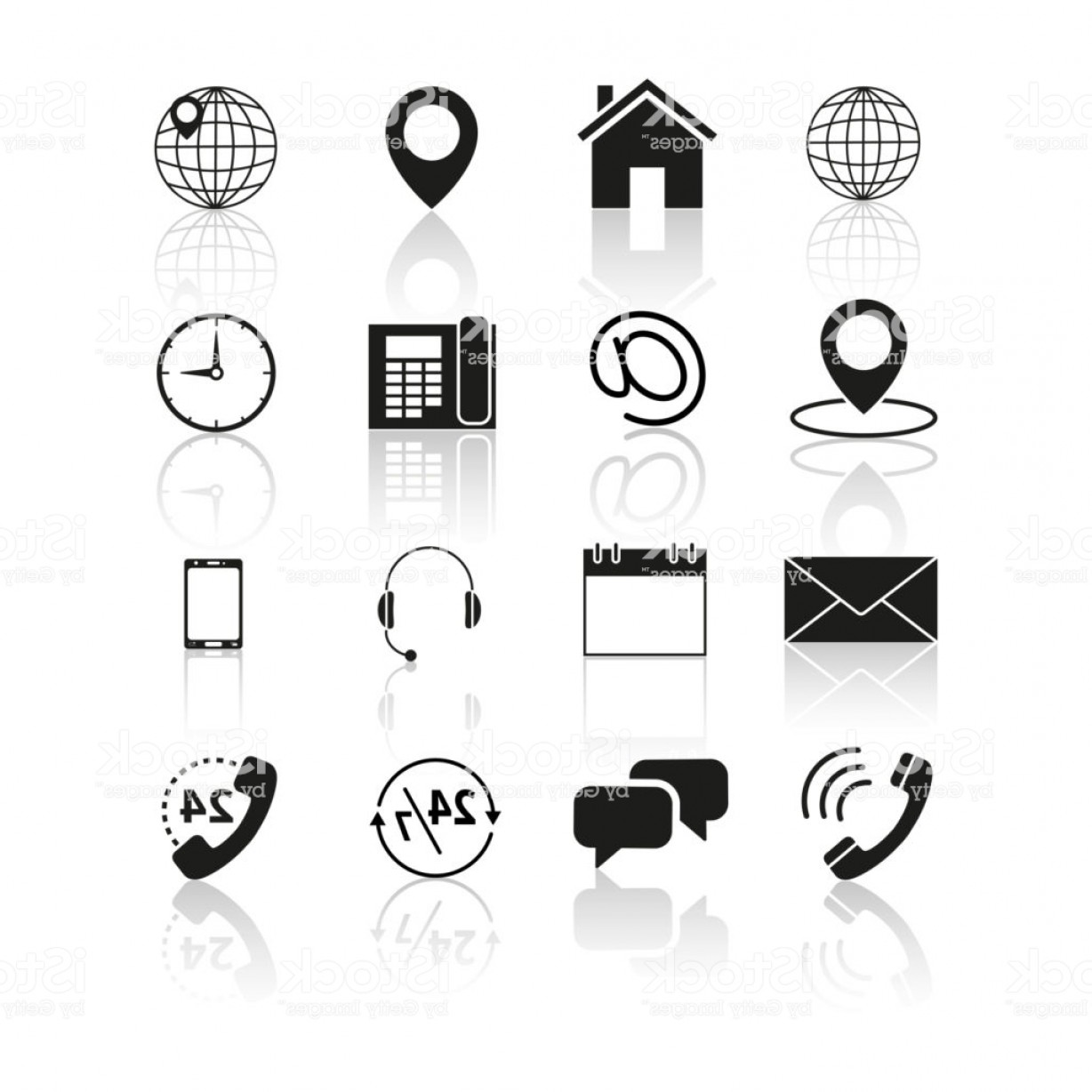 Contact Button Icons Vector Free: Set Of Contacts Us Icons Gm