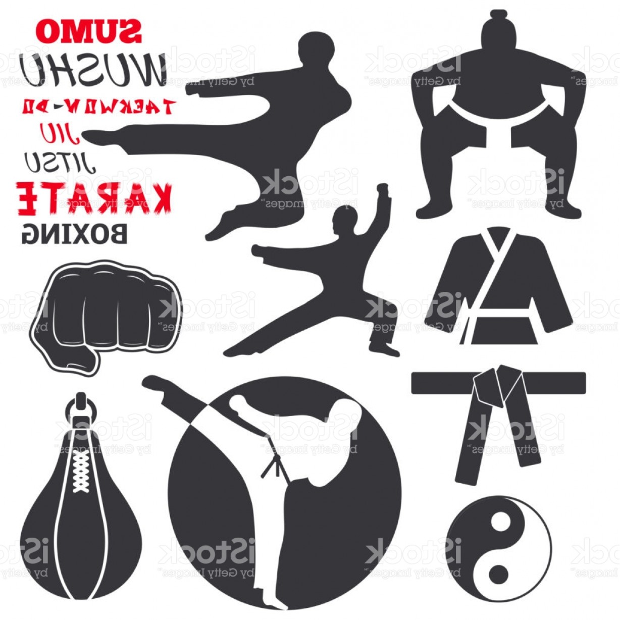 Karate Vector: Set Of Cool Fighting Club Emblems Labels Fight Badges Punch Sport Fist Karate Vector Gm
