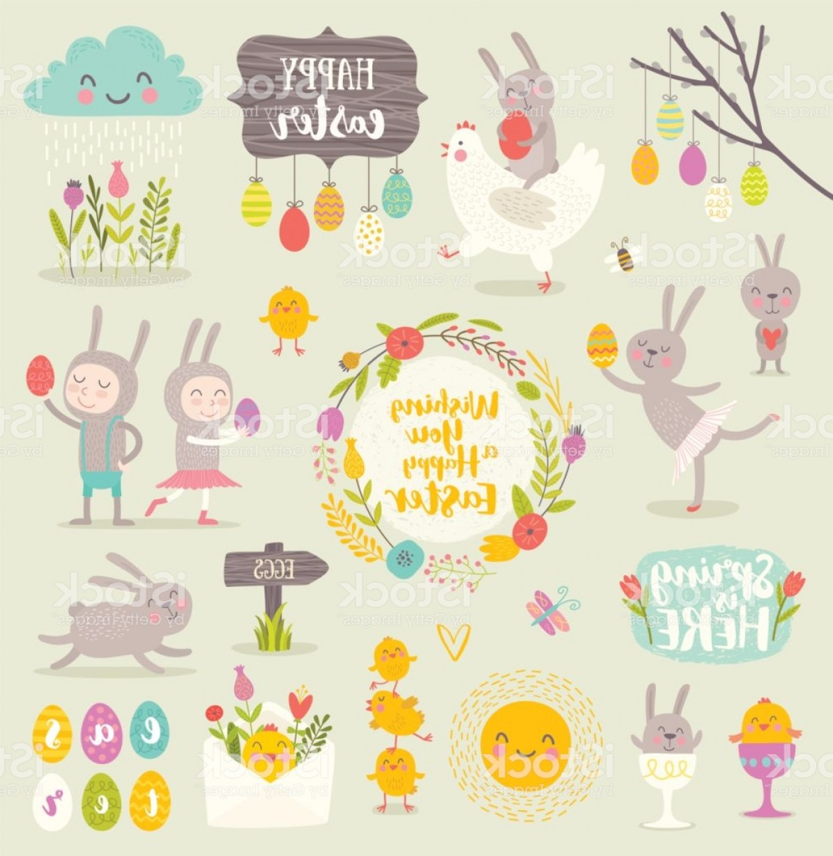 Cute Design Elements Vector Set: Set Of Cute Easter Cartoon Characters And Design Elements Gm