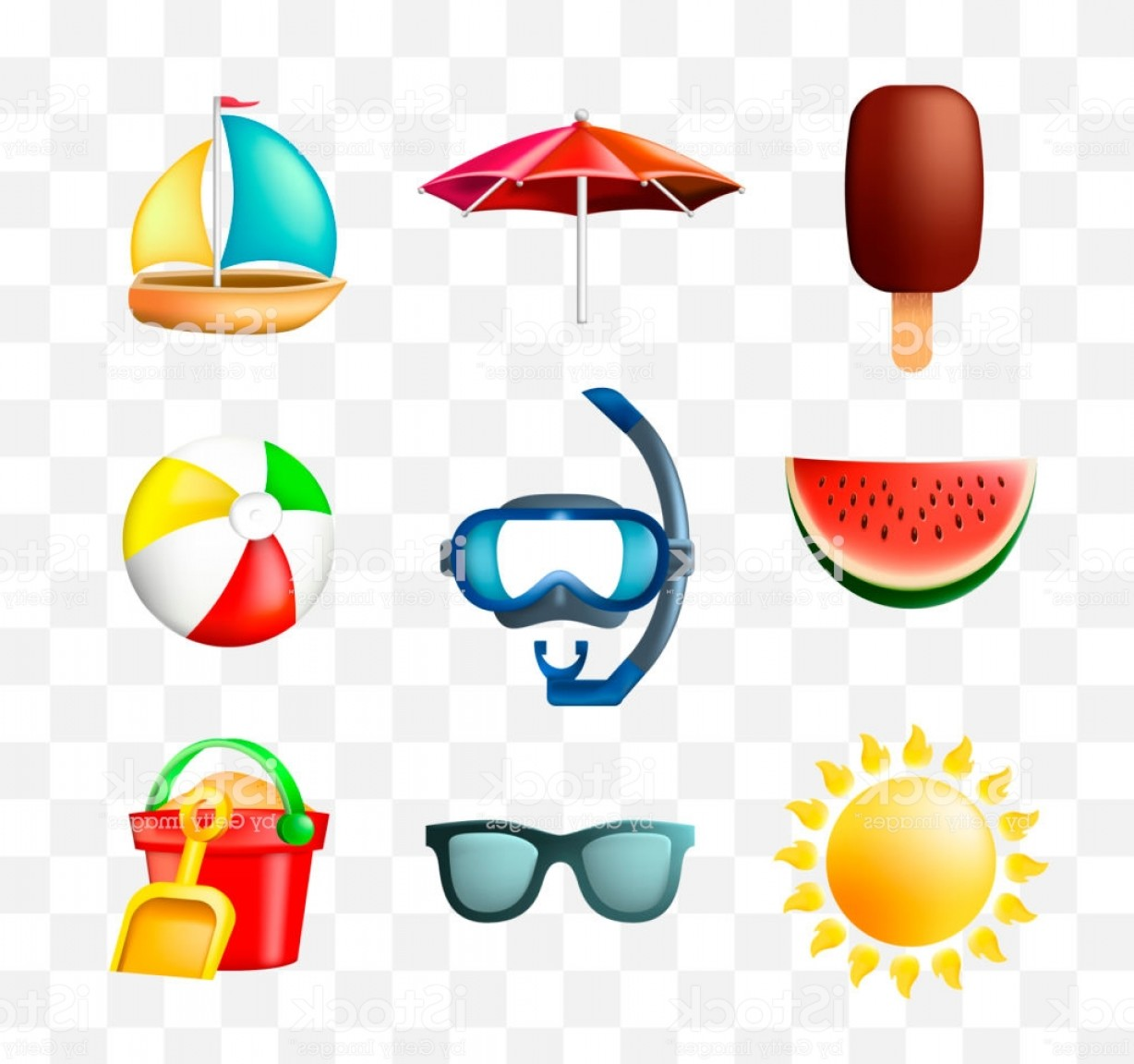 Summer Transparent Vector: Set Of Cute Summer Icons On Transparent Background Gm