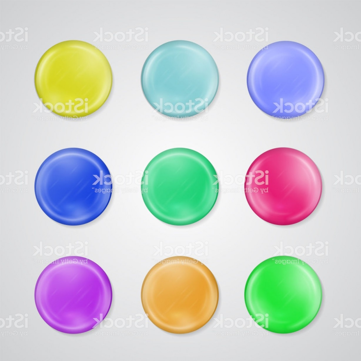 Vectors Buttons And Menus: Set Of D Realistic Buttons Or Badge Templates Colorful Plastic Glossy Knobs For Gm