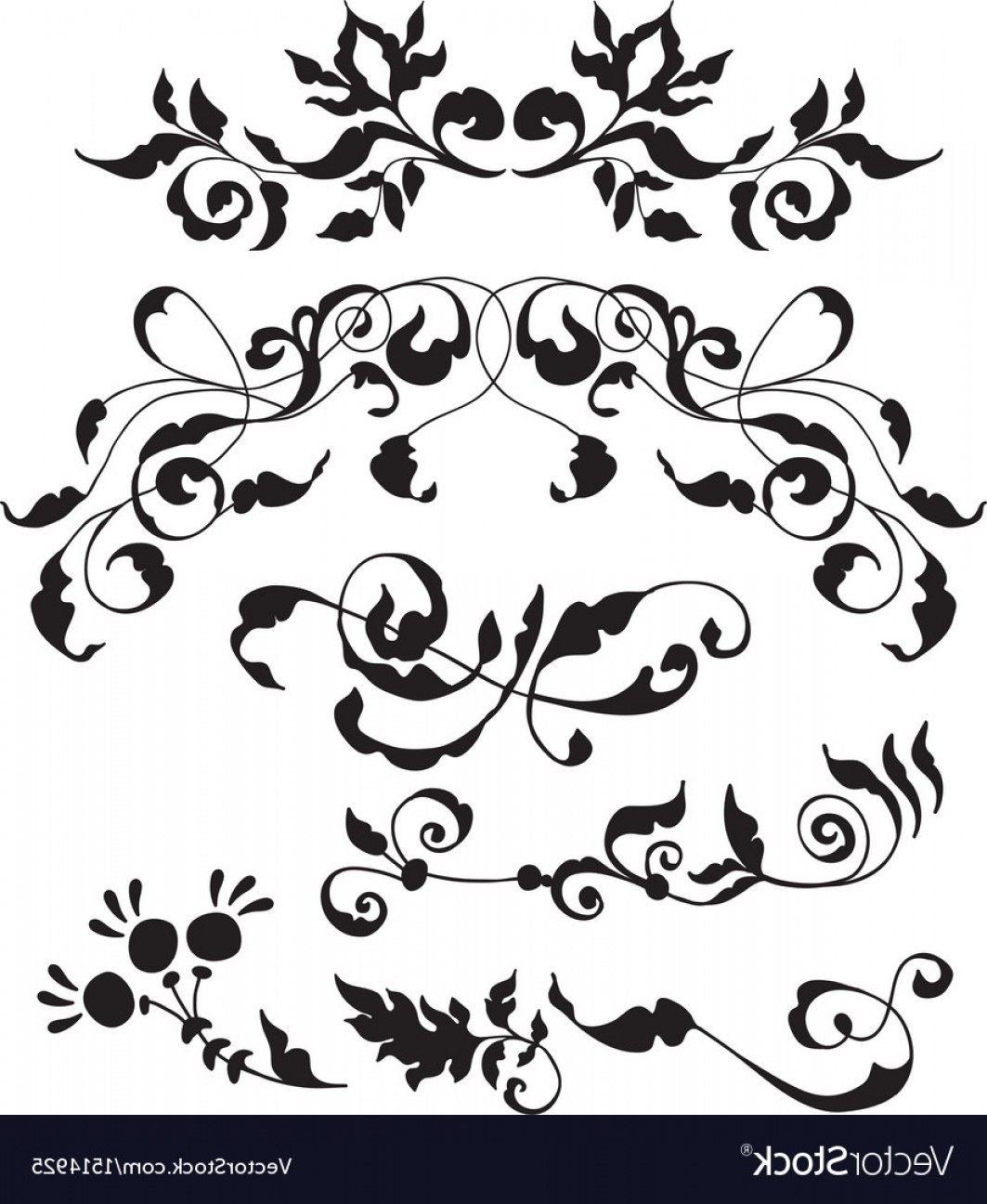 Flower Elements Vector: Set Of Decorative Floral Elements Vector