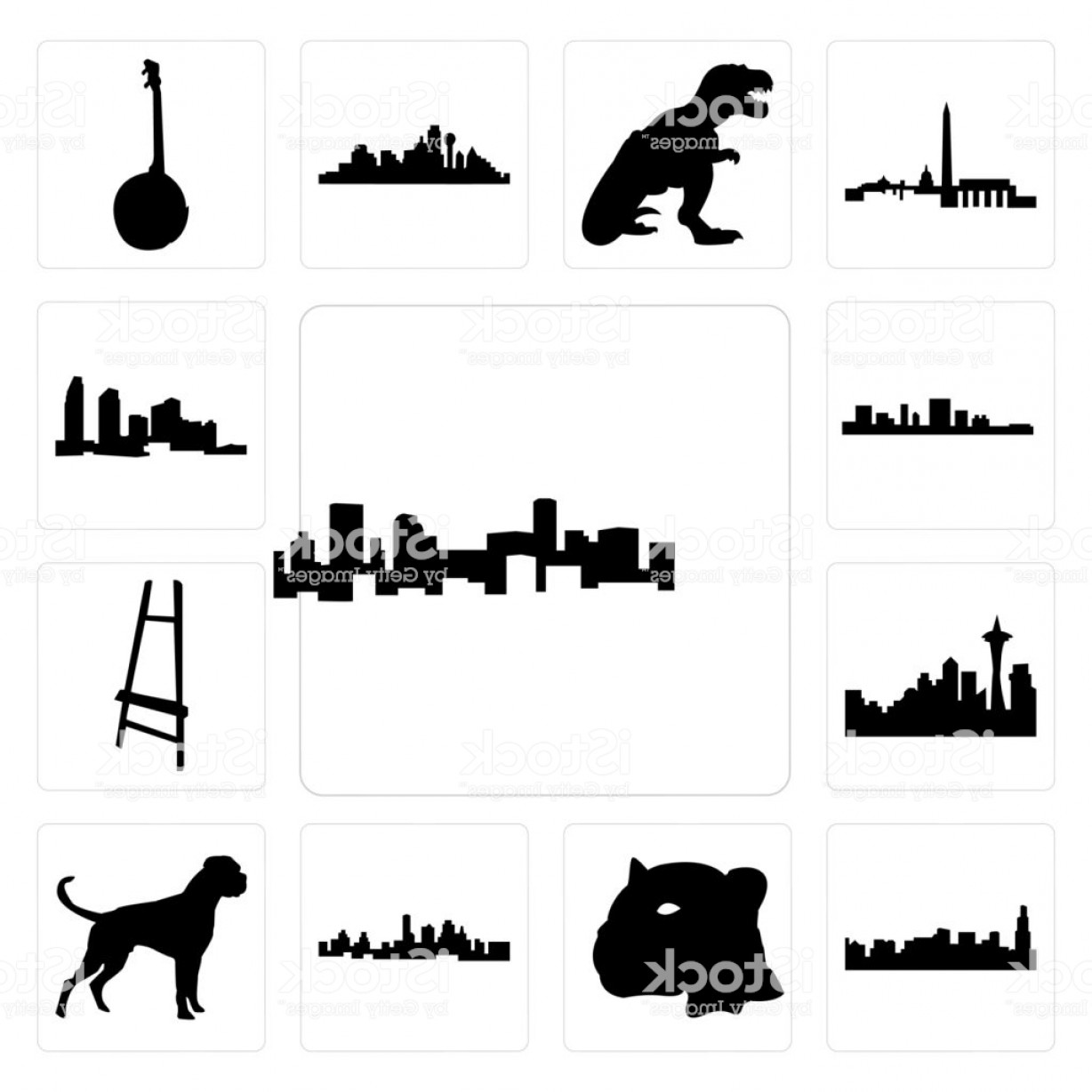 Double Boxer Dog Vector: Set Of Denver Skyline Boxer Dog Kansas City Jaguar Face Chicago Painter Easel Gm