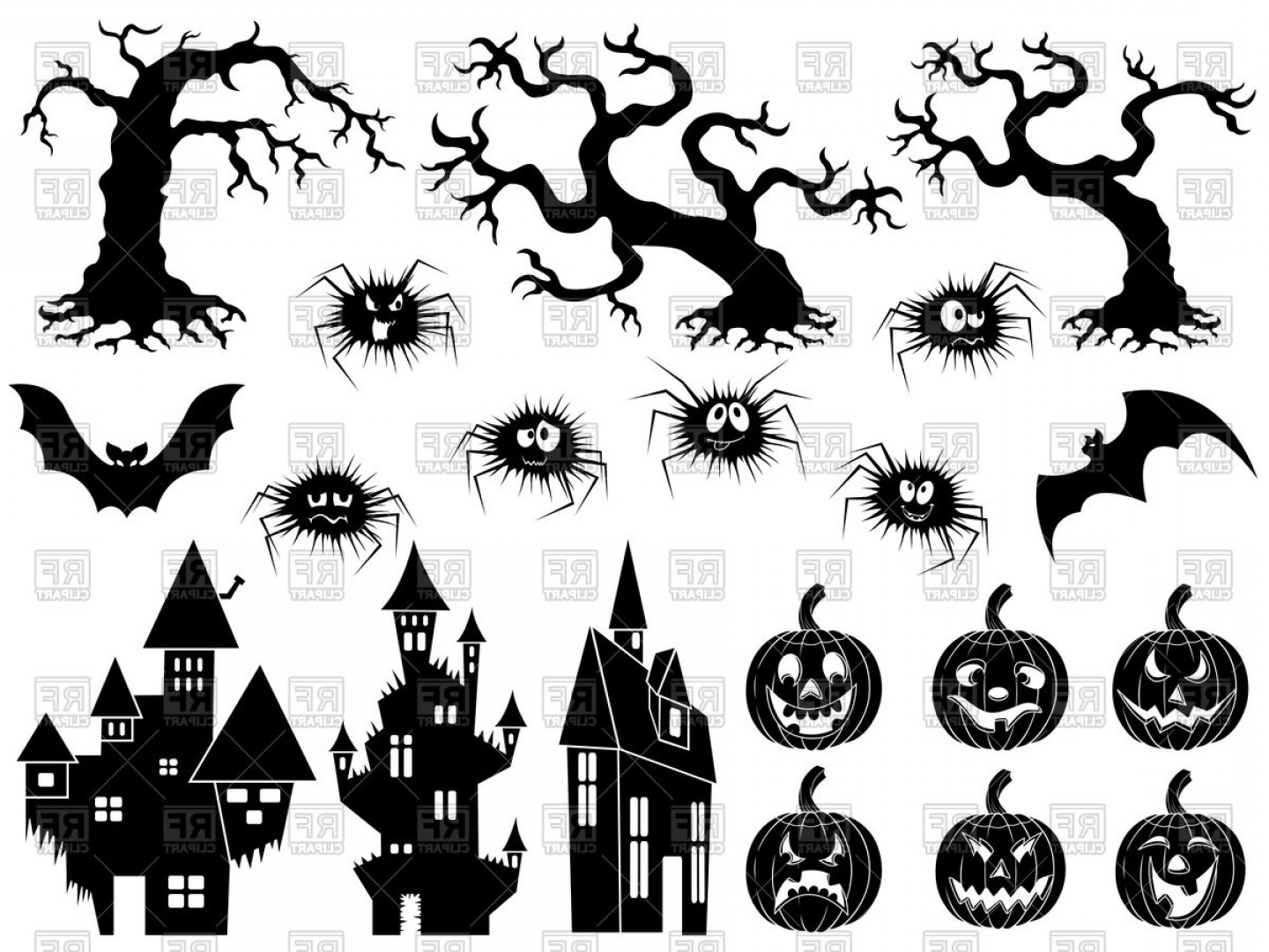 Witch Silhouette Vector: Set Of Different Halloween Silhouettes Vector Clipart