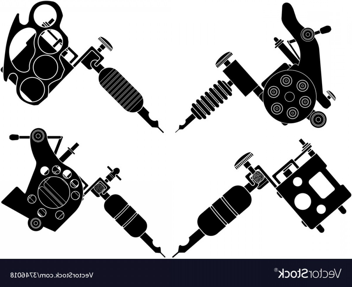 Tattoo Machine Vector Clip Art: Set Of Different Style Tattoo Machines Vector
