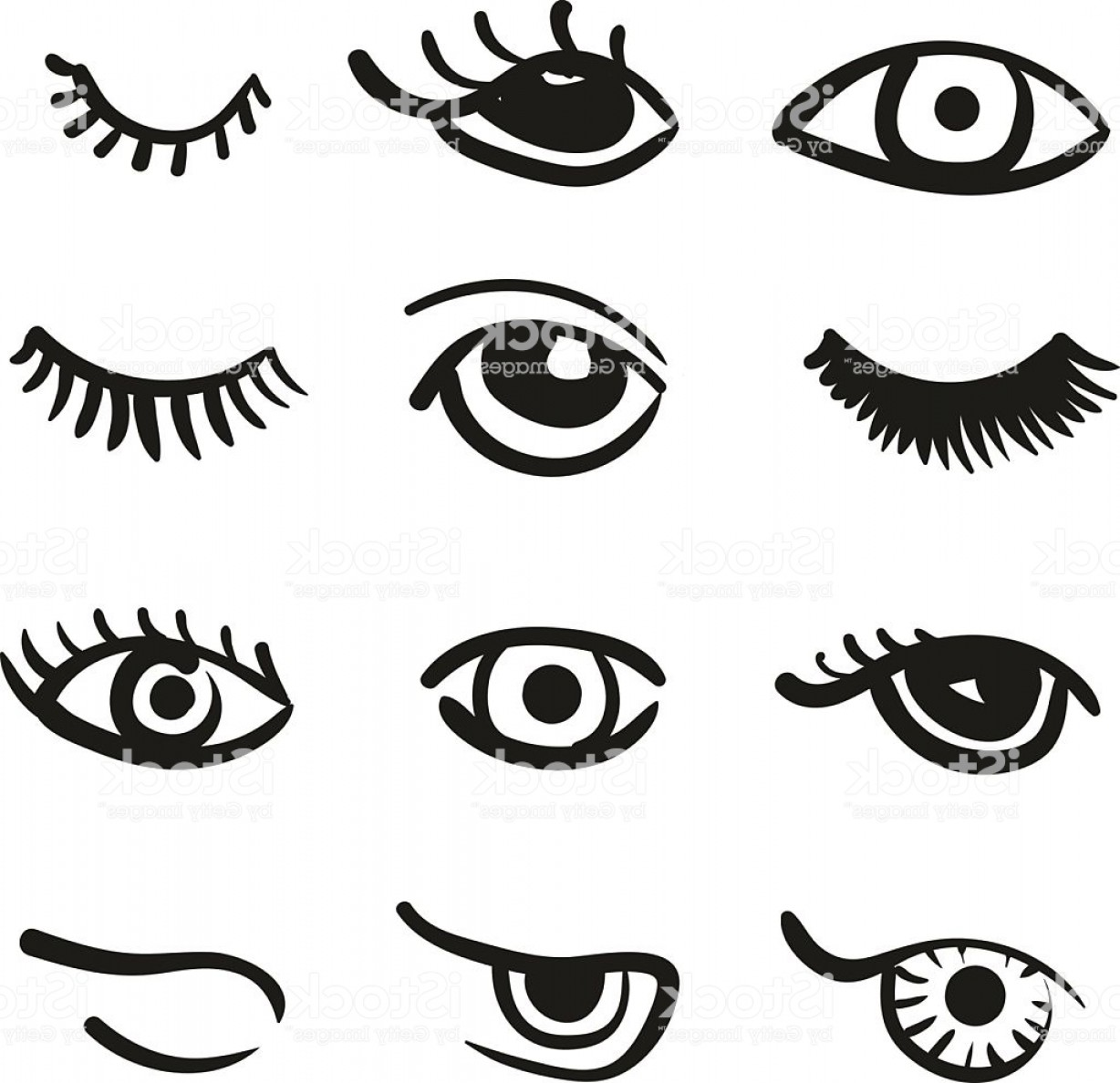 Top Eye Lashes Vector: Set Of Doodle Eyes And Lashes Gm