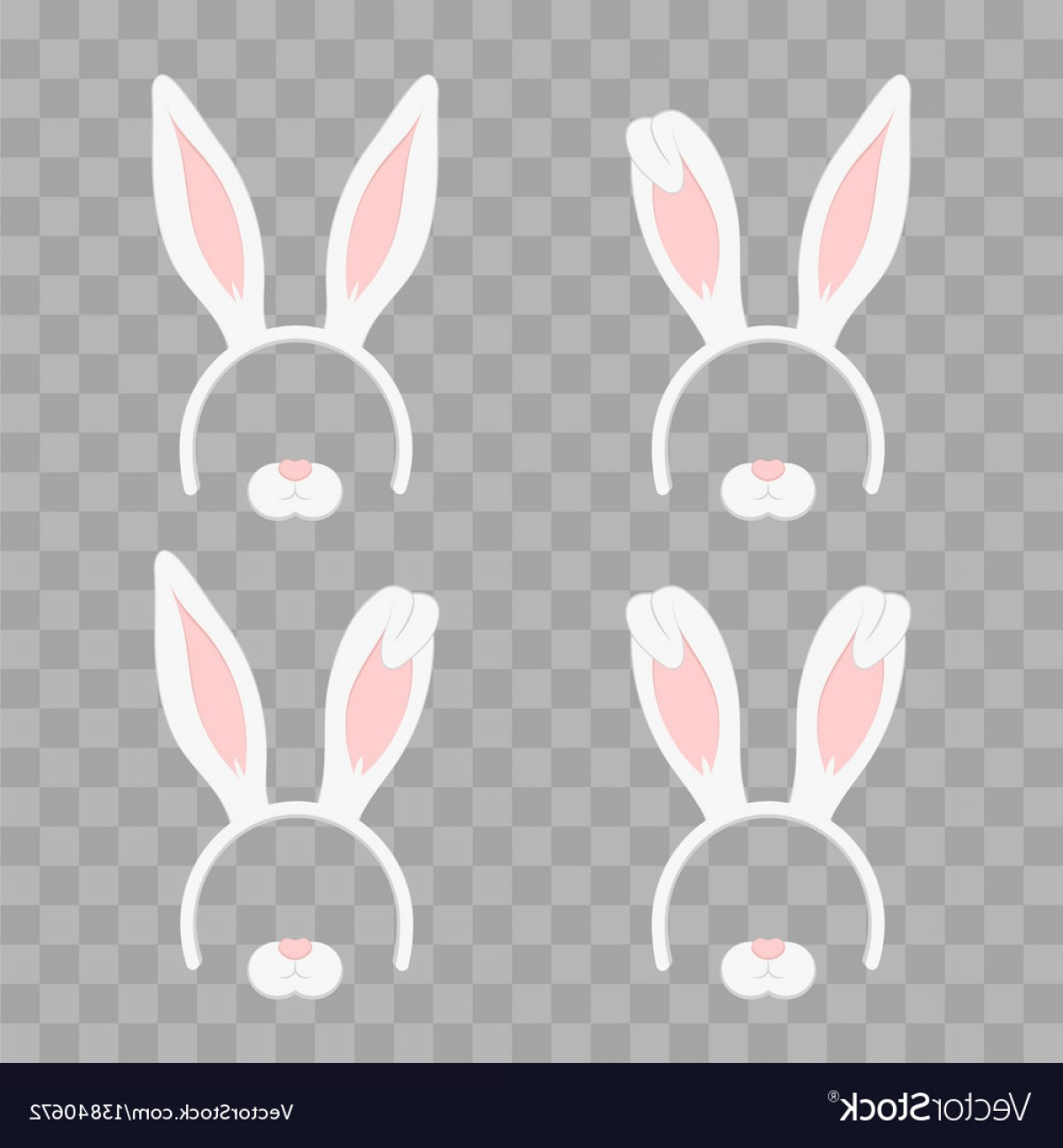 Vector RabbitEars: Set Of Easter Mask With Rabbit Ears Isolated On Vector