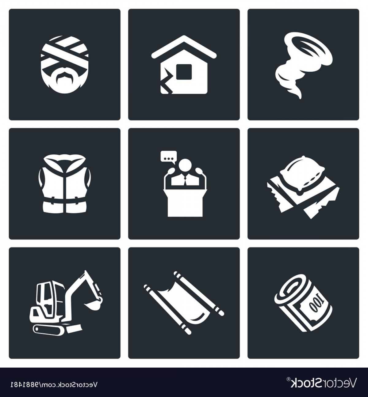 Earthquake Rescue Vector: Set Of Emergency Service Icons Hurricane Vector