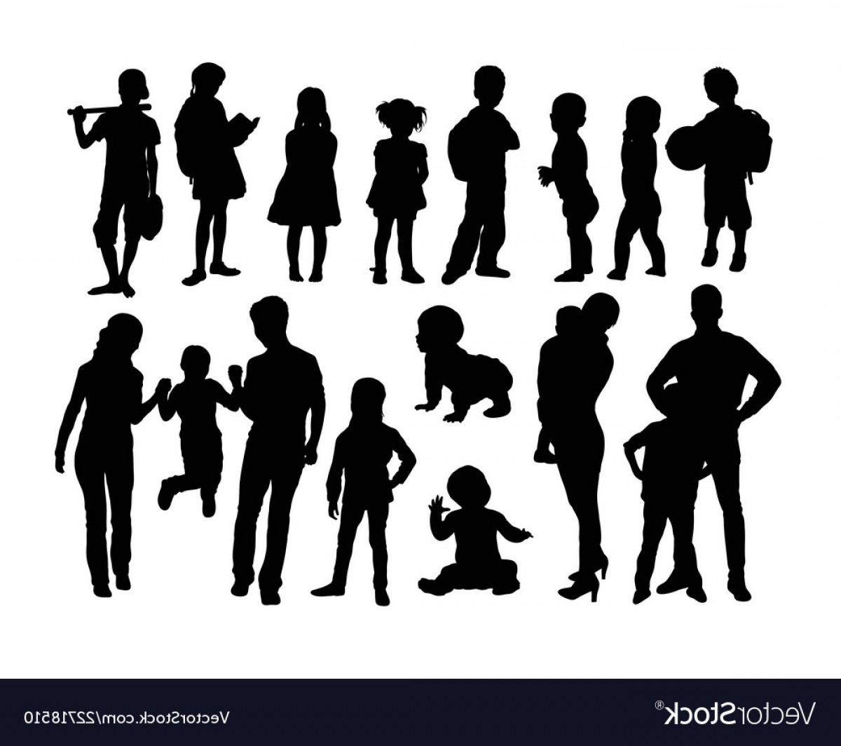 Family Silhouette Vector Art: Set Of Family Silhouettes Vector