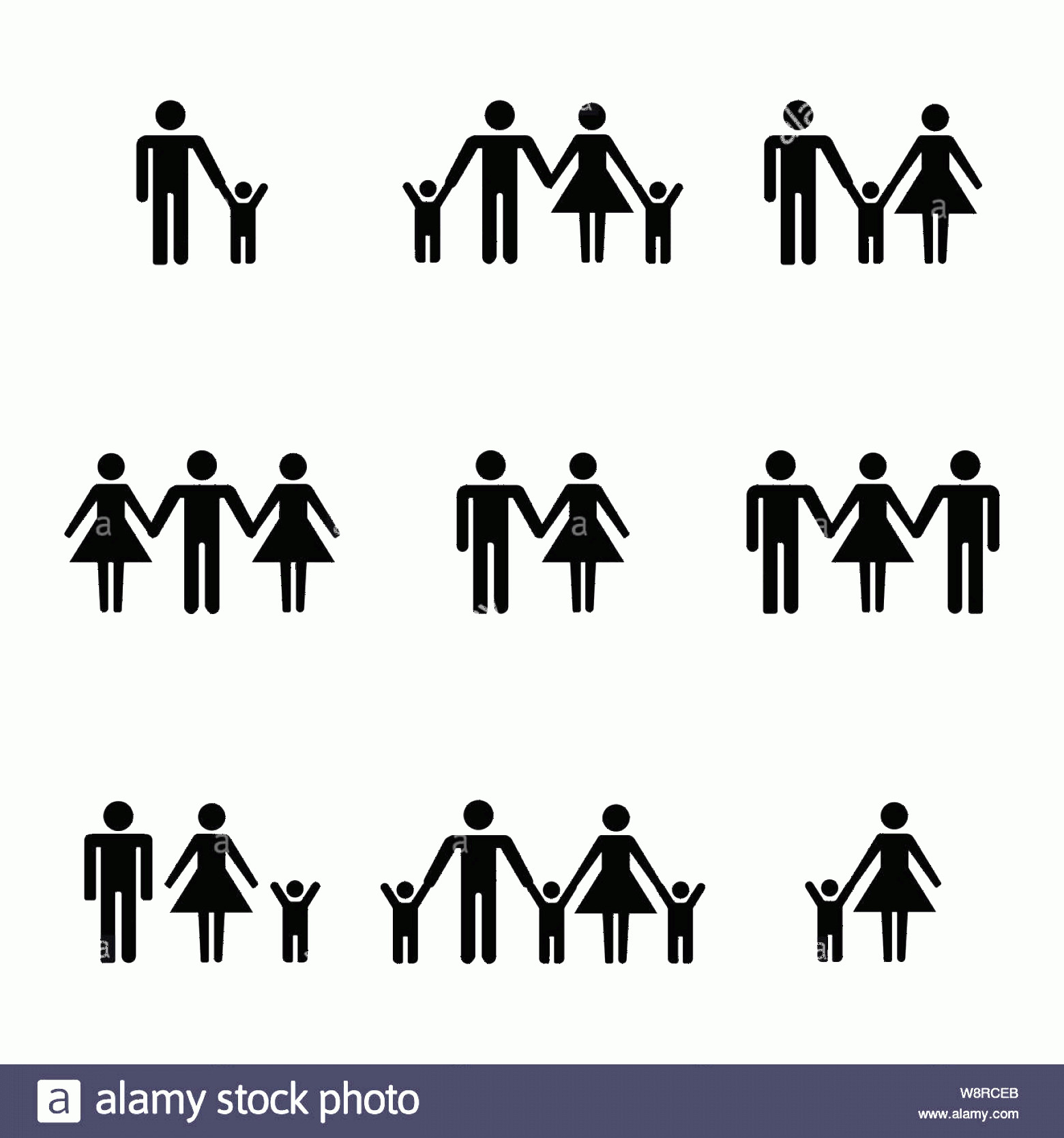 Stick Family Vector Art: Set Of Family Stick Figures Black Womans And Mans Silhouettes On A White Background Icons People Vector Illustration Image