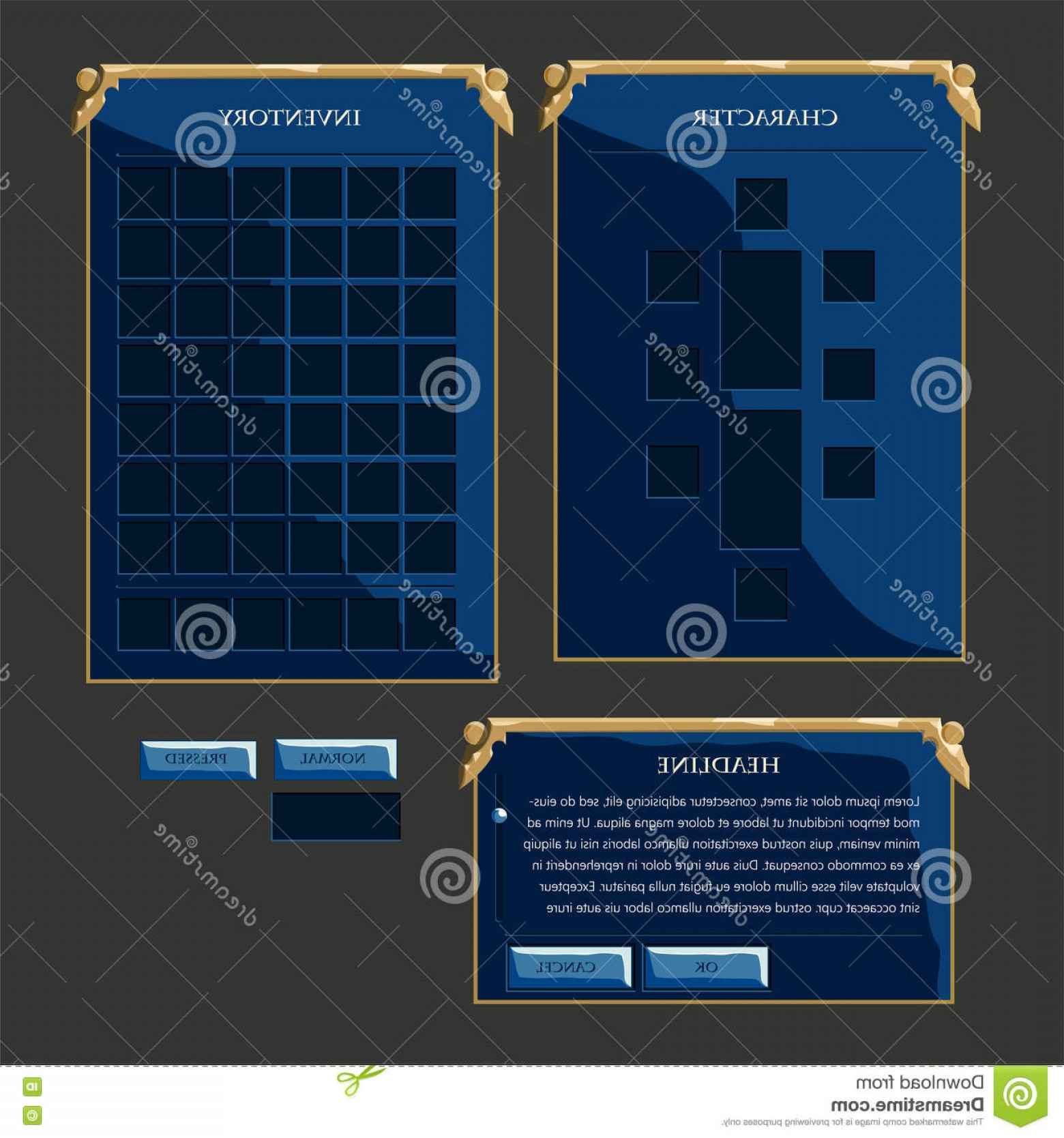Vectors Buttons And Menus: Set Of Fantasy Vector Interface Elements Illustration