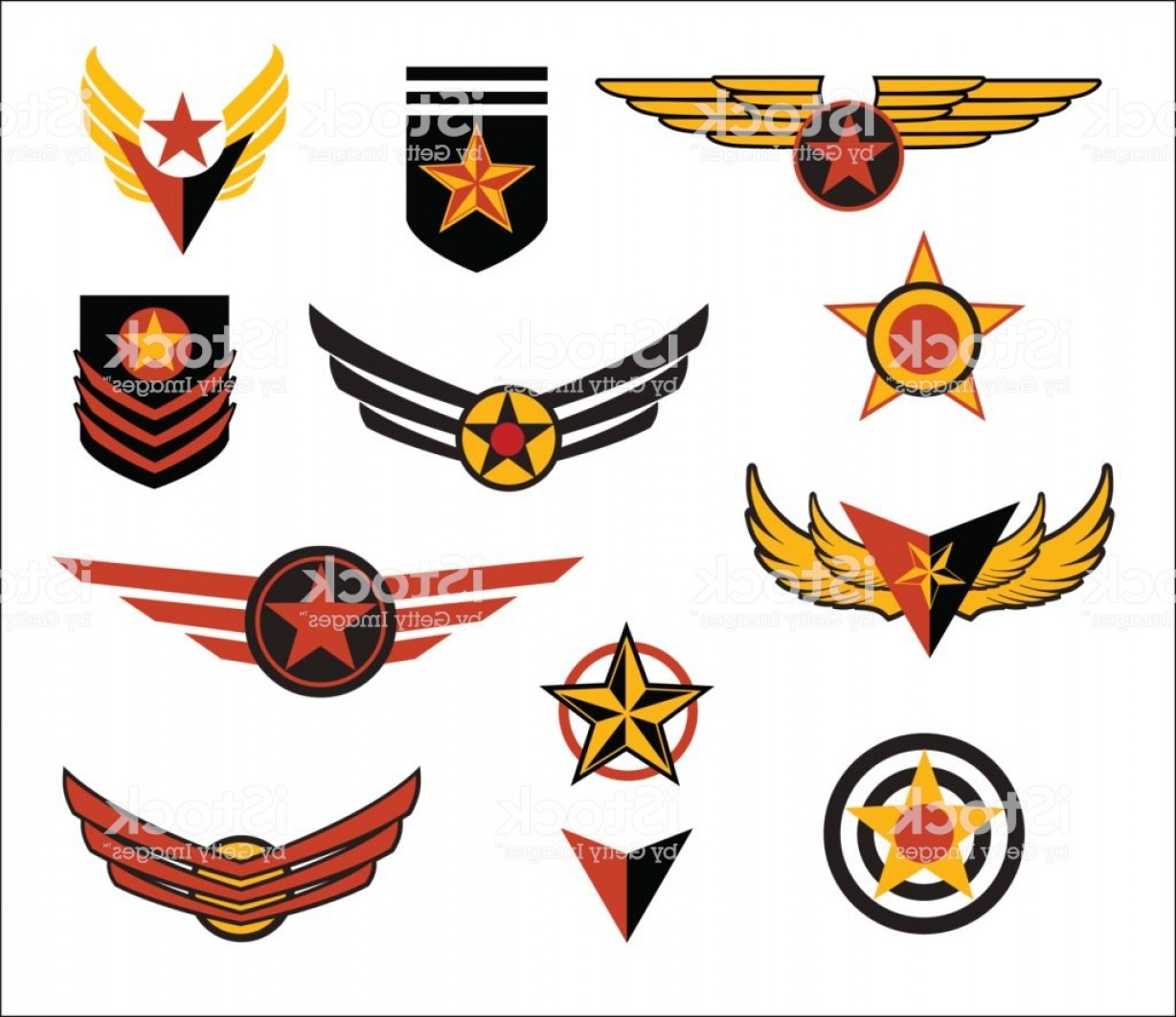 United States Armed Forces Logo Vector: Set Of Fictional Military Emblems Vector Illustration Gm