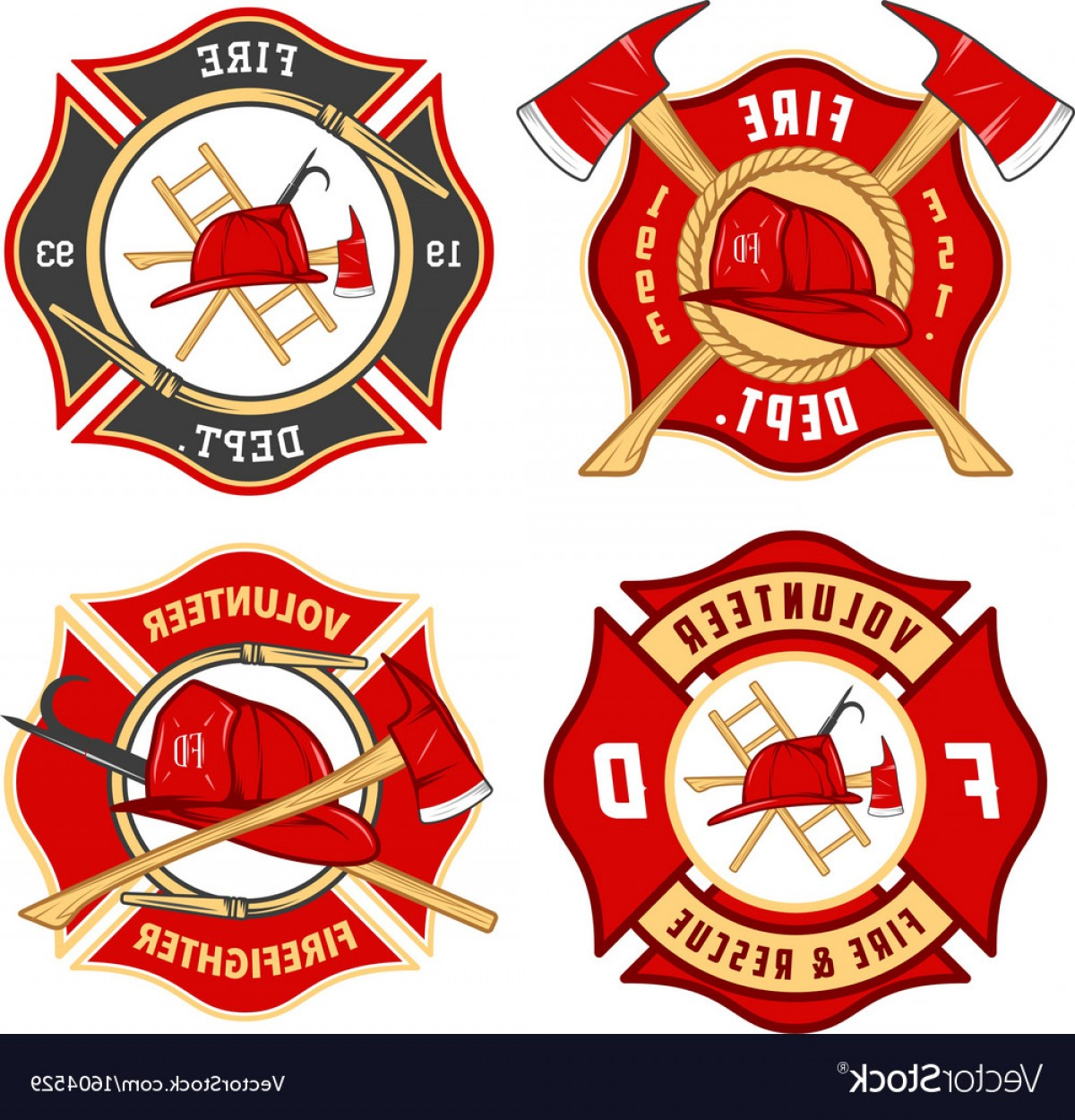 Fire Fighter Logo Vector: Set Of Fire Department Emblems And Badges Vector