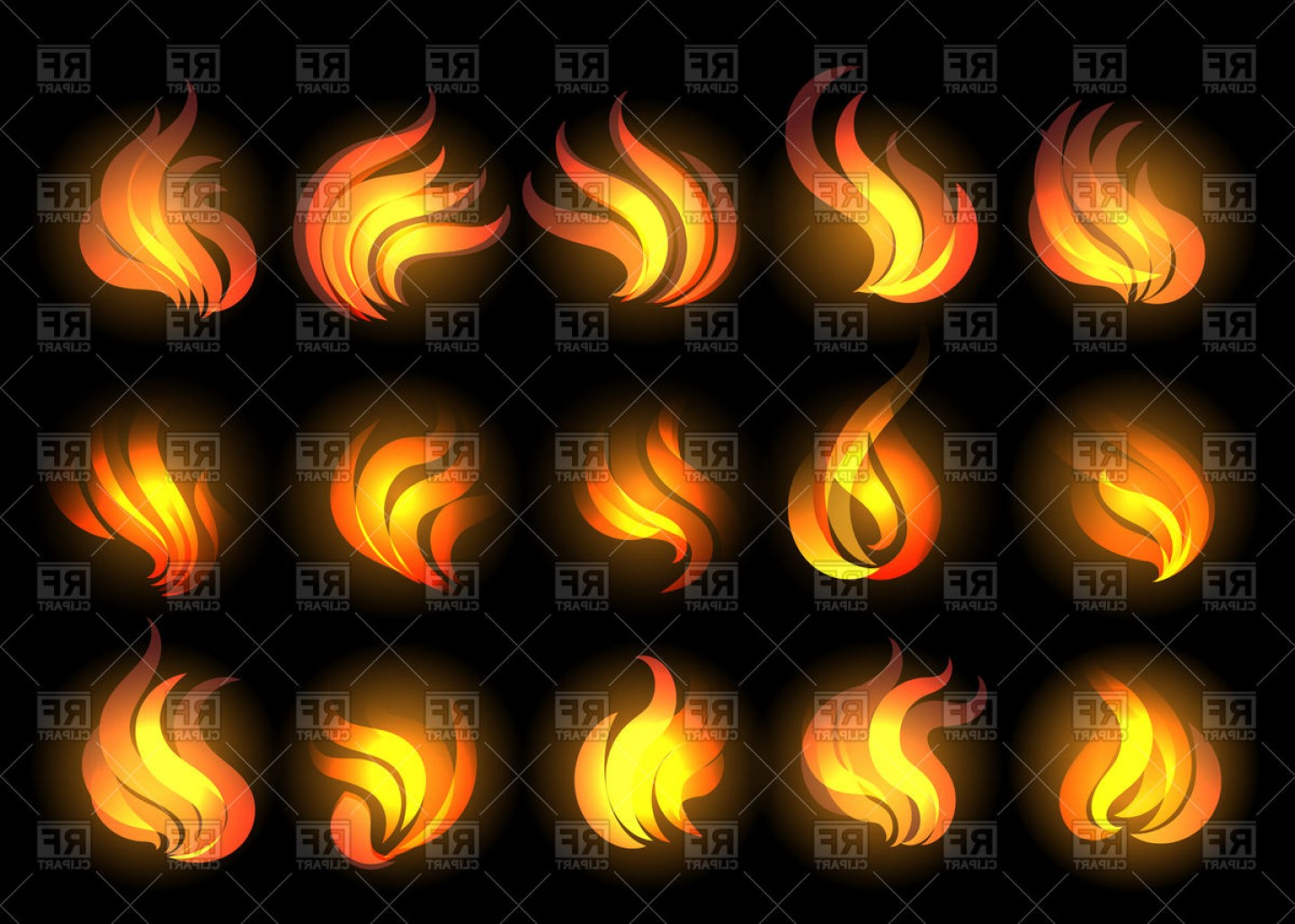 Cartoon Fire Flames Vector: Set Of Fire Flames Drawn In Cartoon Style Vector Clipart