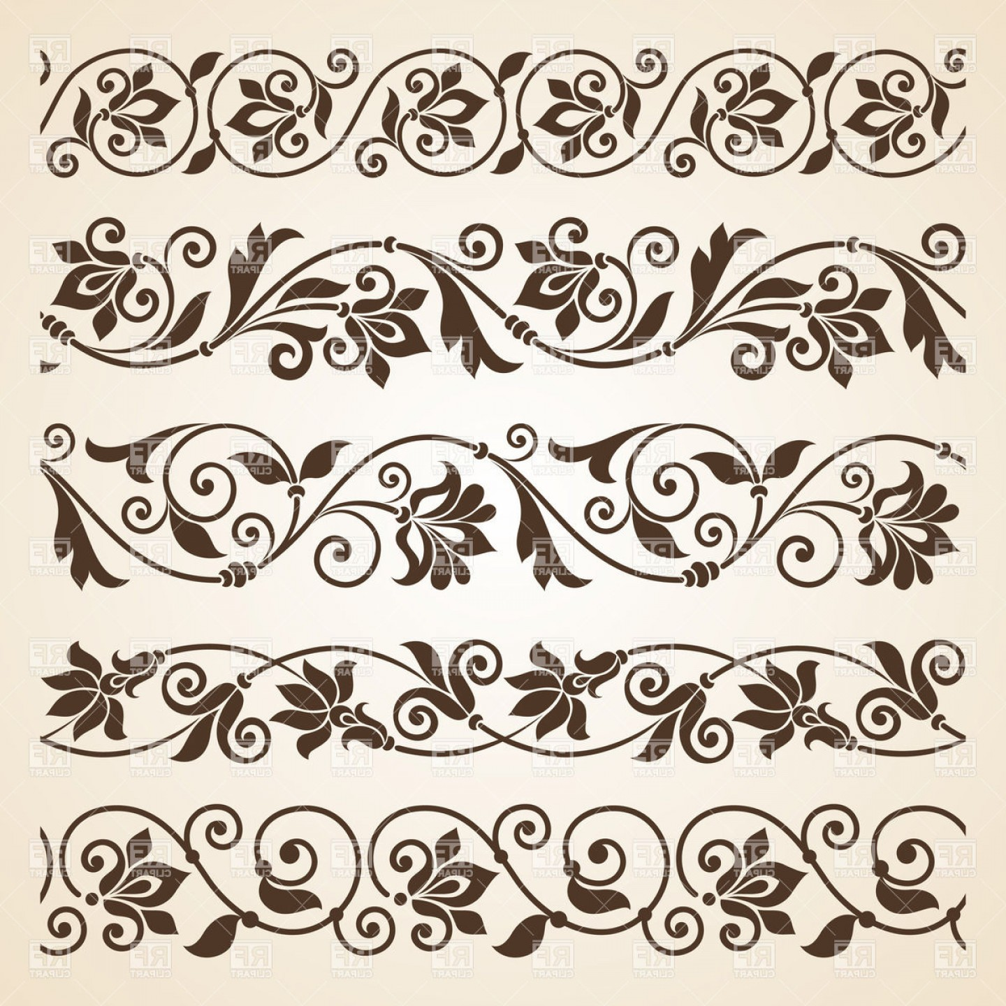 Vector Boarders Clip: Set Of Five Curly Vintage Floral Borders Vector Clipart