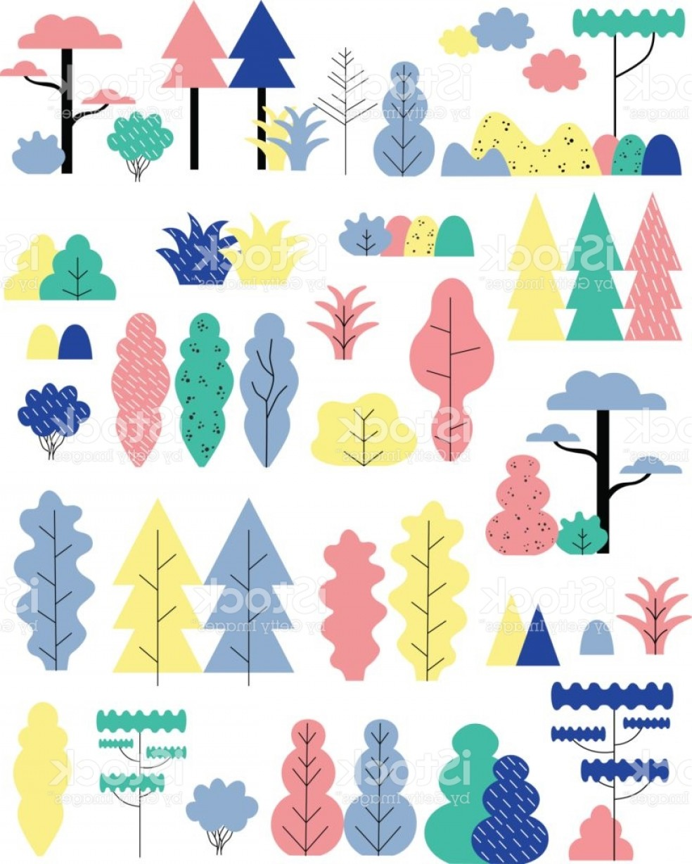 Flat Vector Art And Abstract Forest: Set Of Flat Abstract Forest Elements Vector Illustration Gm