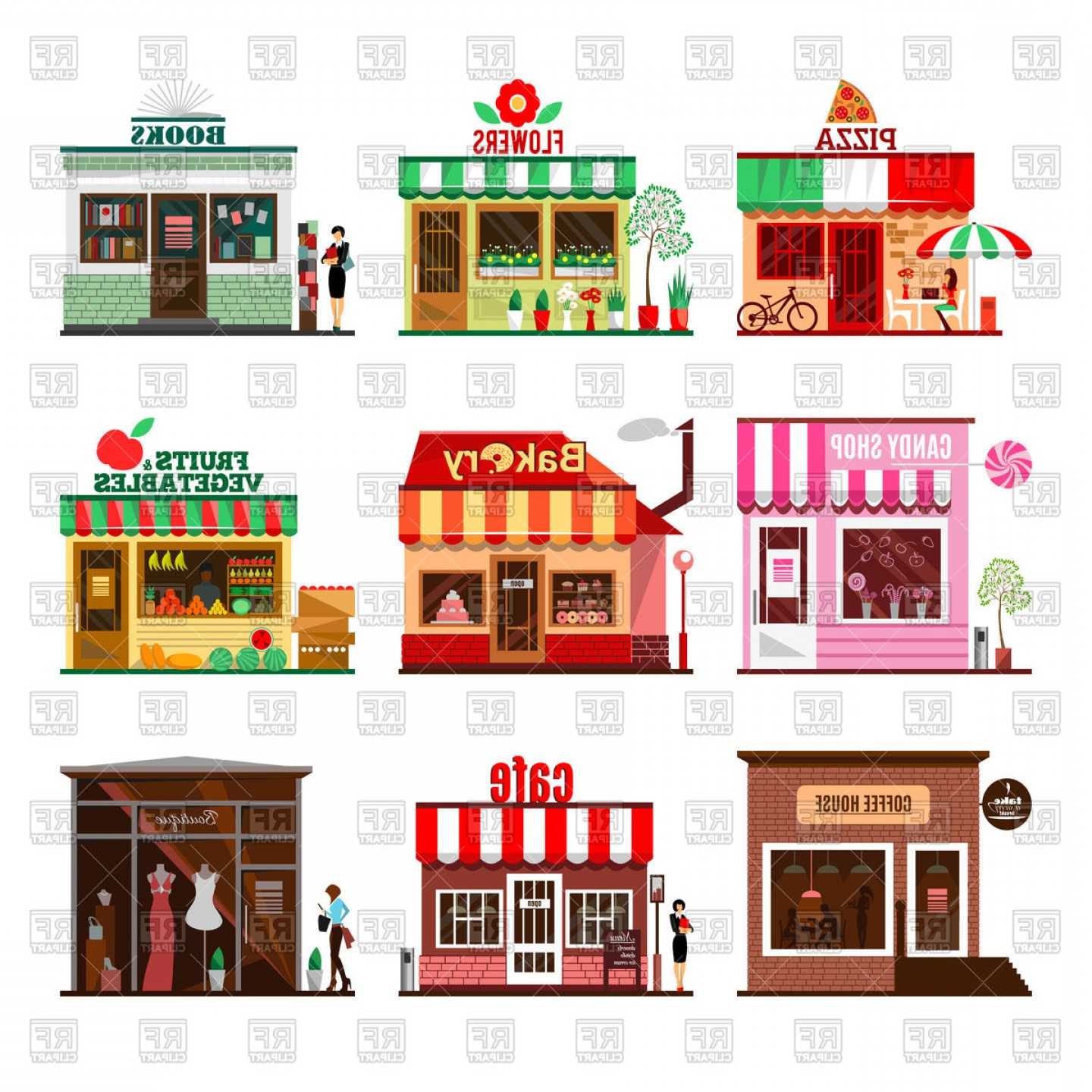 City Building Vector Free Download: Set Of Flat Design City Public Buildings Vector Clipart