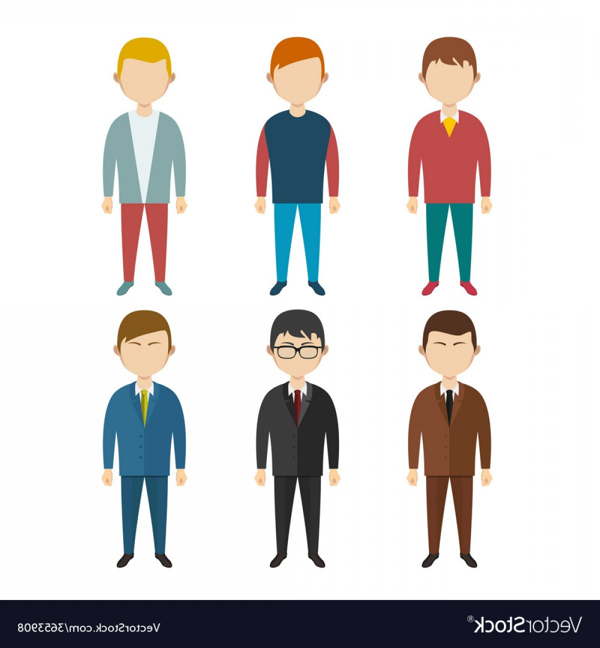 Male Human Vector: Set Of Flat Human Characters Young Men On White Vector
