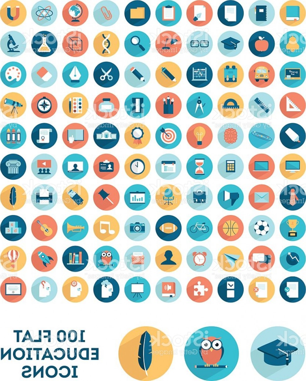 Free Vector Flat Education Icons: Set Of Flat Style Education Icons Gm